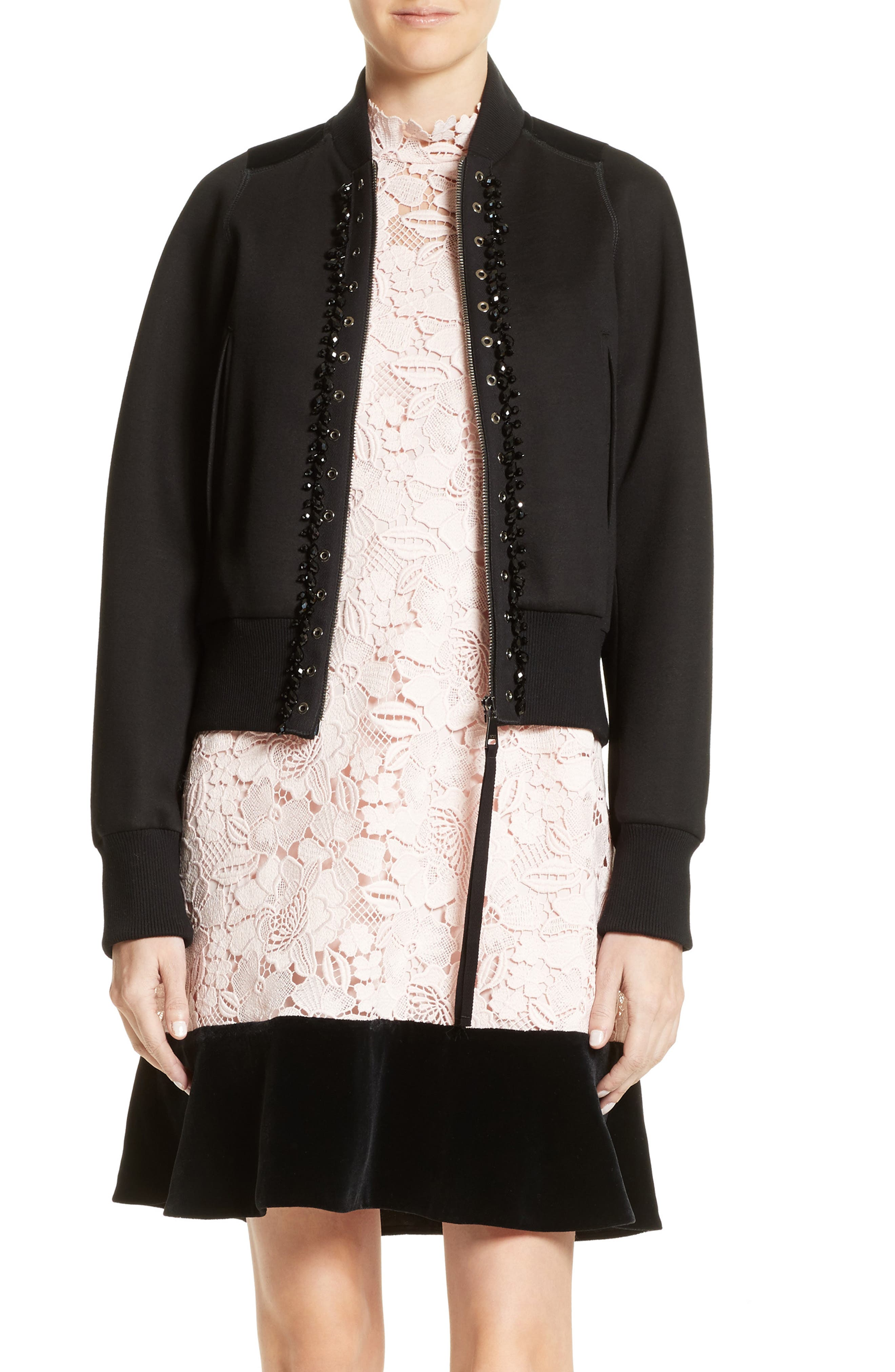 N°21 Floral Embroidered Bomber Jacket