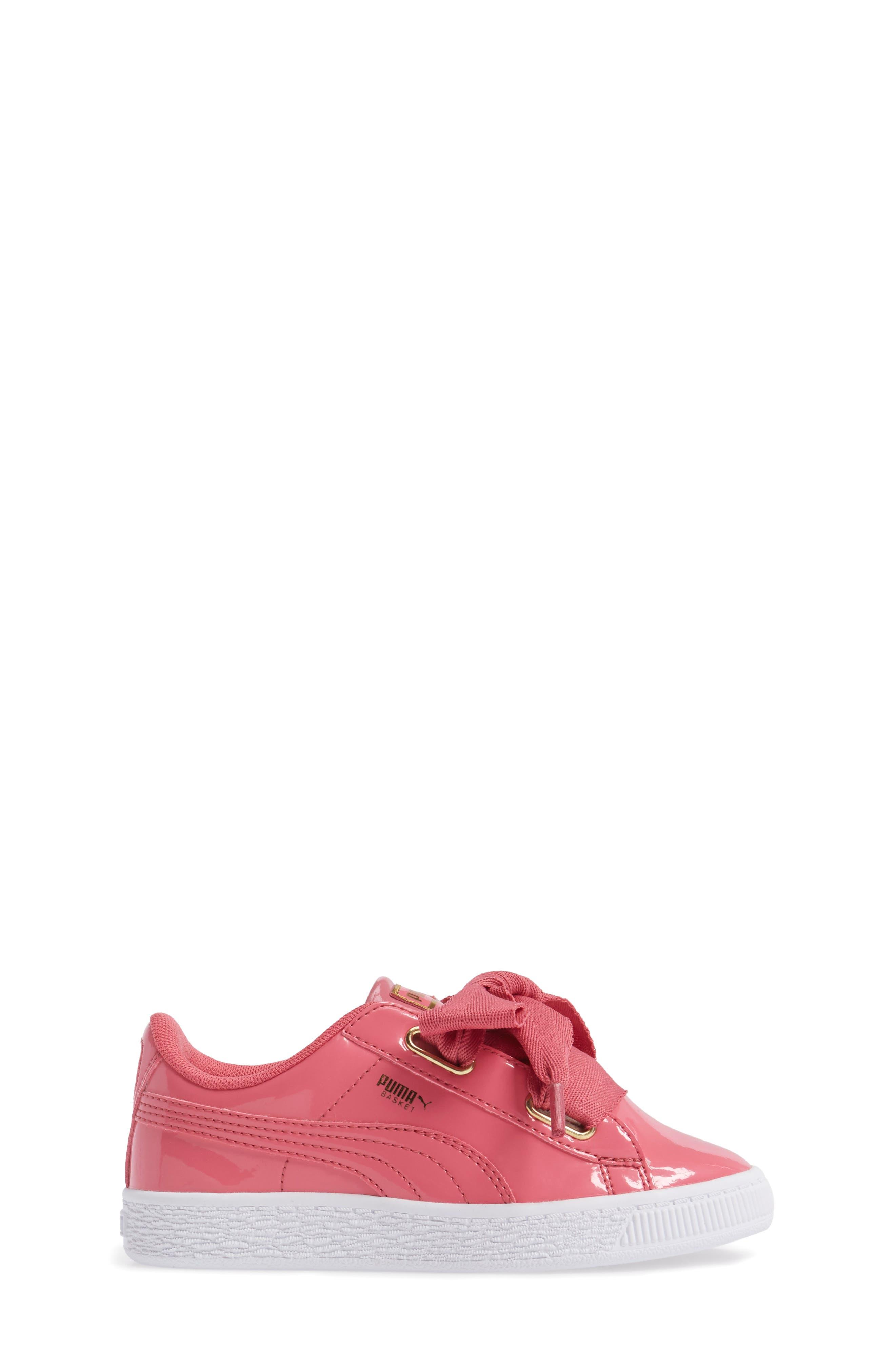 Basket Heart Sneaker,                             Alternate thumbnail 3, color,                             Rapture Rose/ Puma Team Gold
