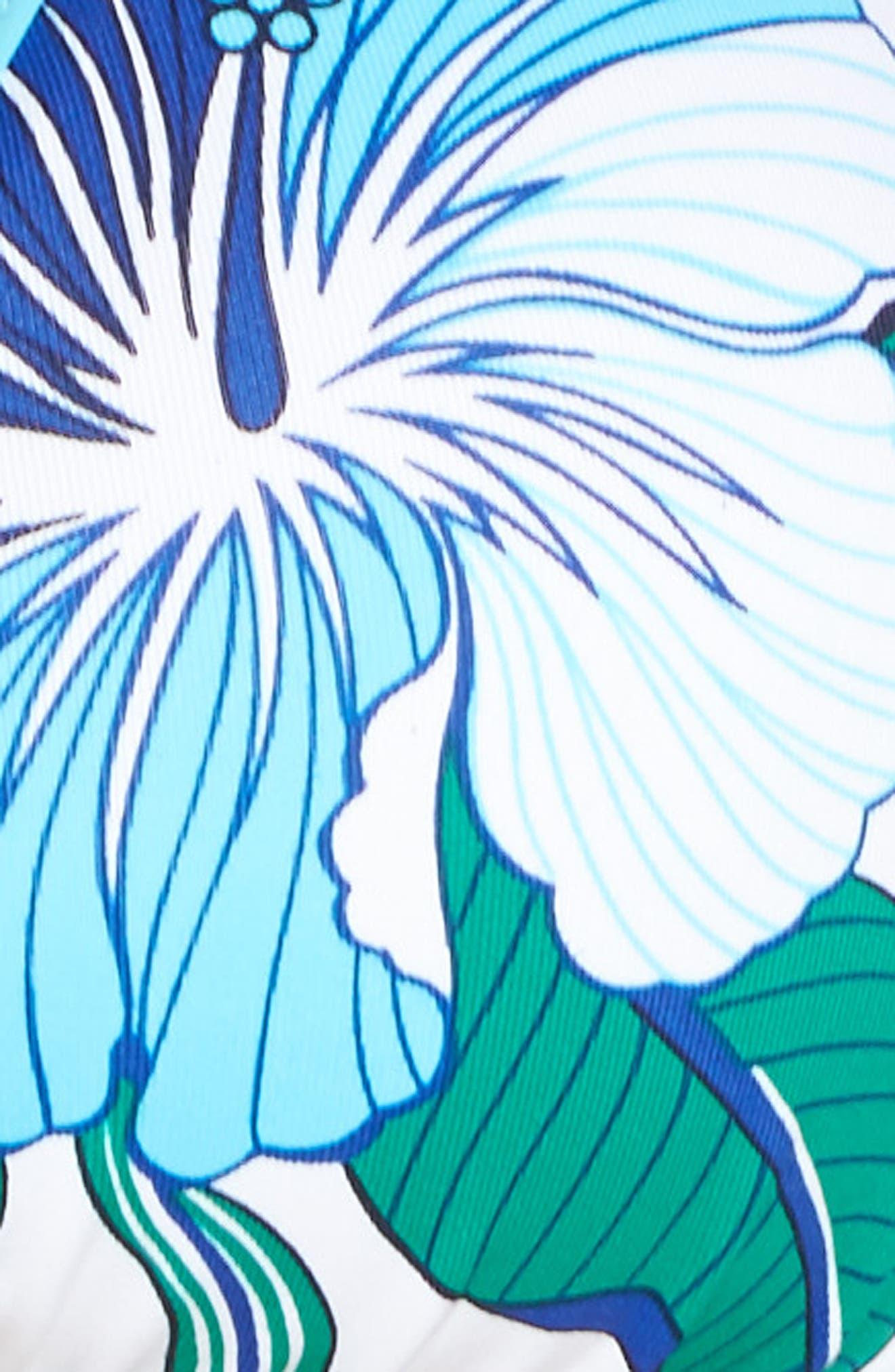 Hibiscus Print Bikini Top,                             Alternate thumbnail 5, color,                             White