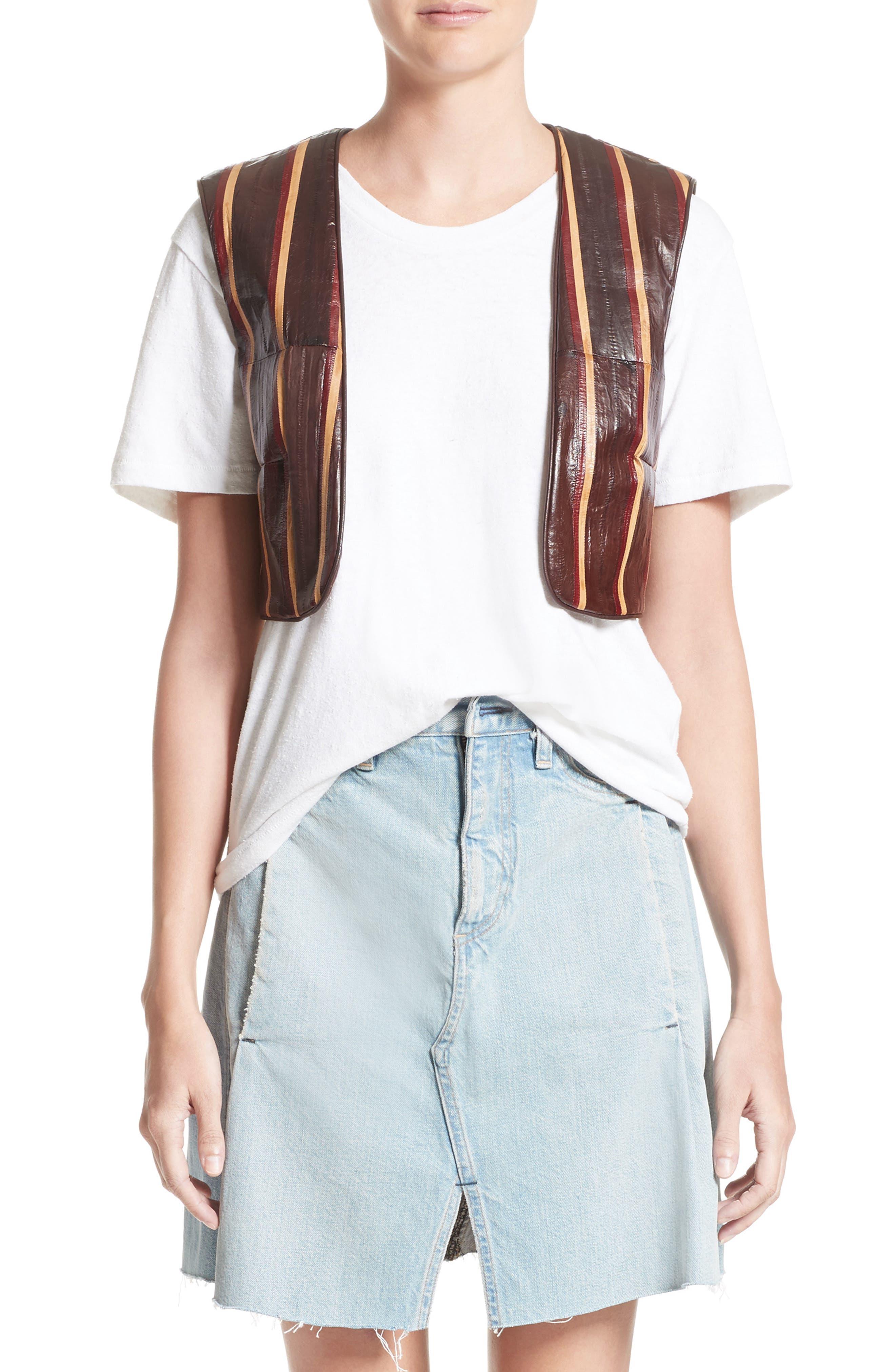 Striped Genuine Eelskin Vest,                         Main,                         color, Oxblood