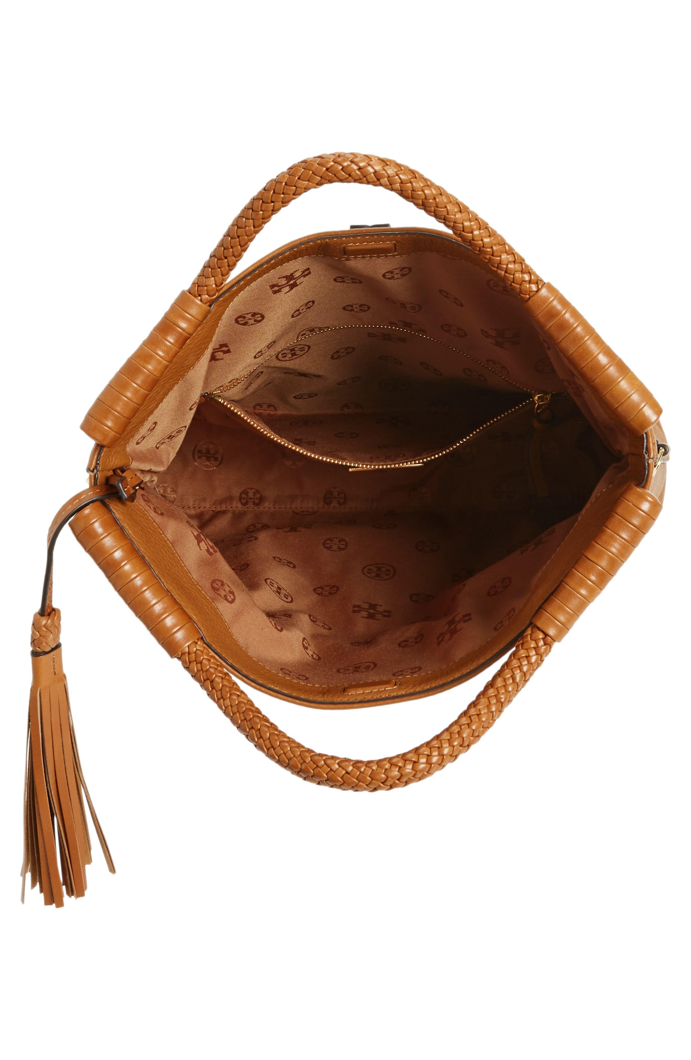 Convertible Leather Crossbody Bag,                             Alternate thumbnail 4, color,                             Saddle