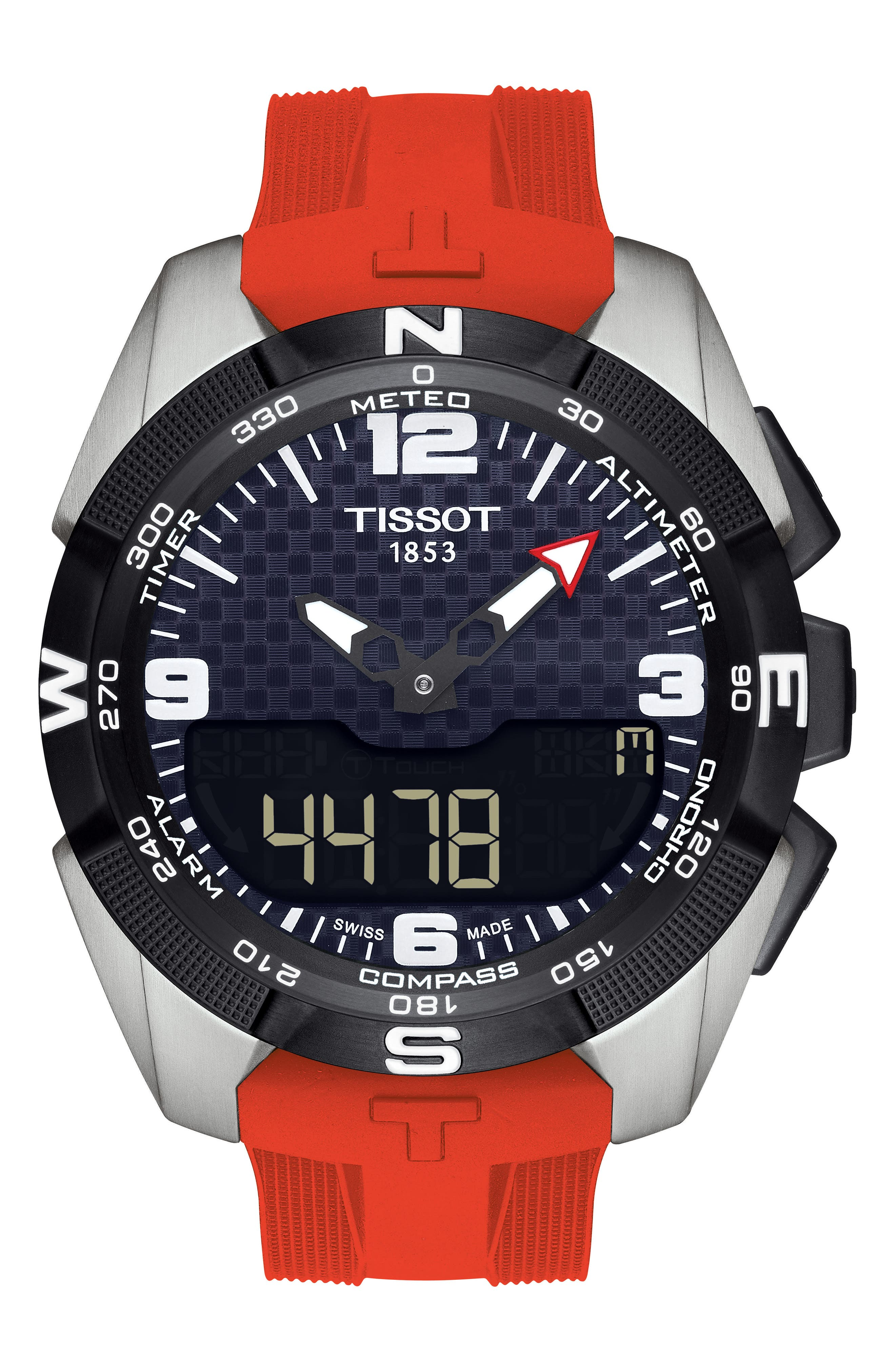 T-Touch Expert Solar Multifunction Smartwatch, 45mm,                         Main,                         color, Red/ Black/ Silver