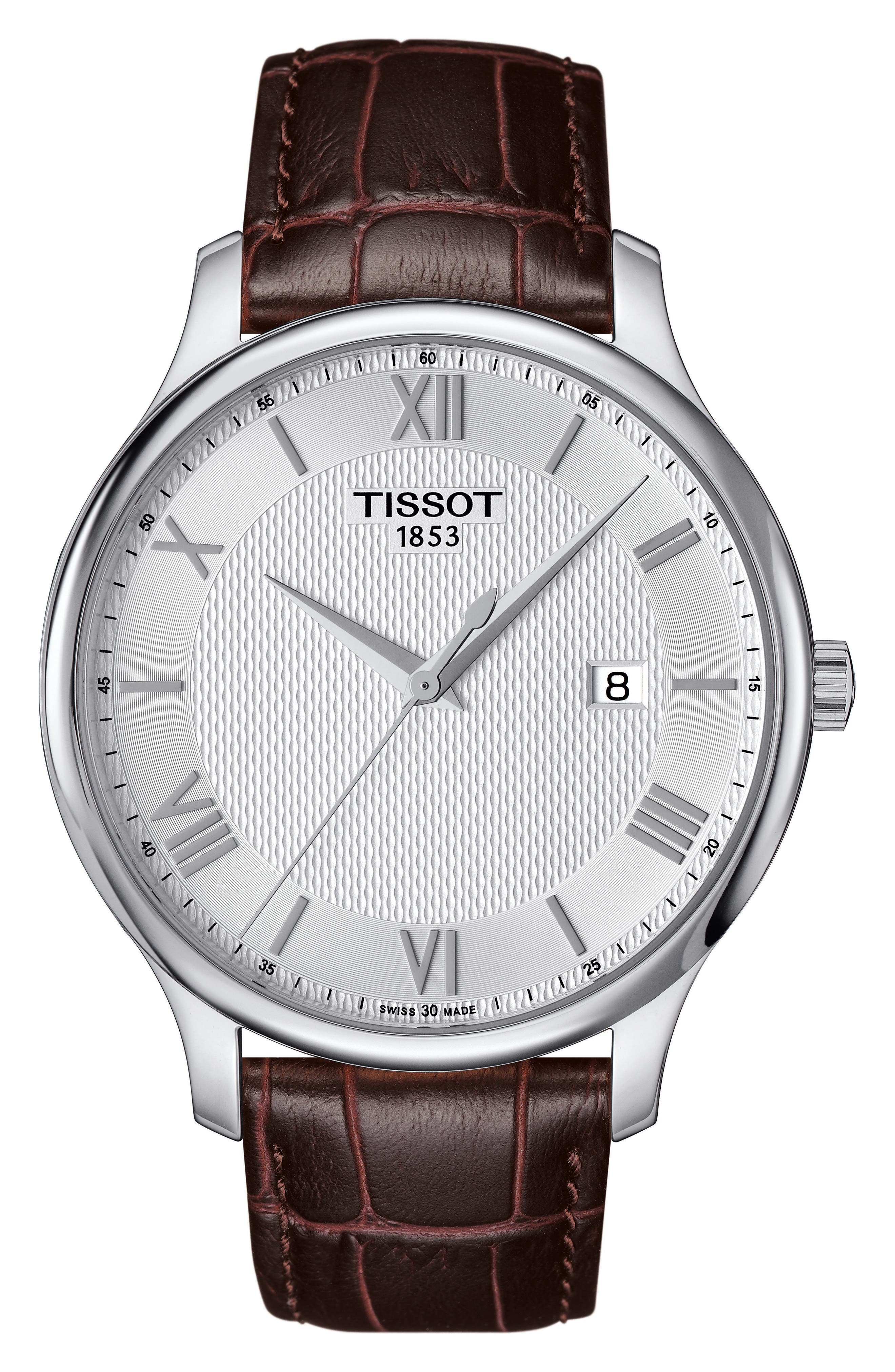 Alternate Image 1 Selected - Tissot Tradition Leather Strap Watch, 42mm