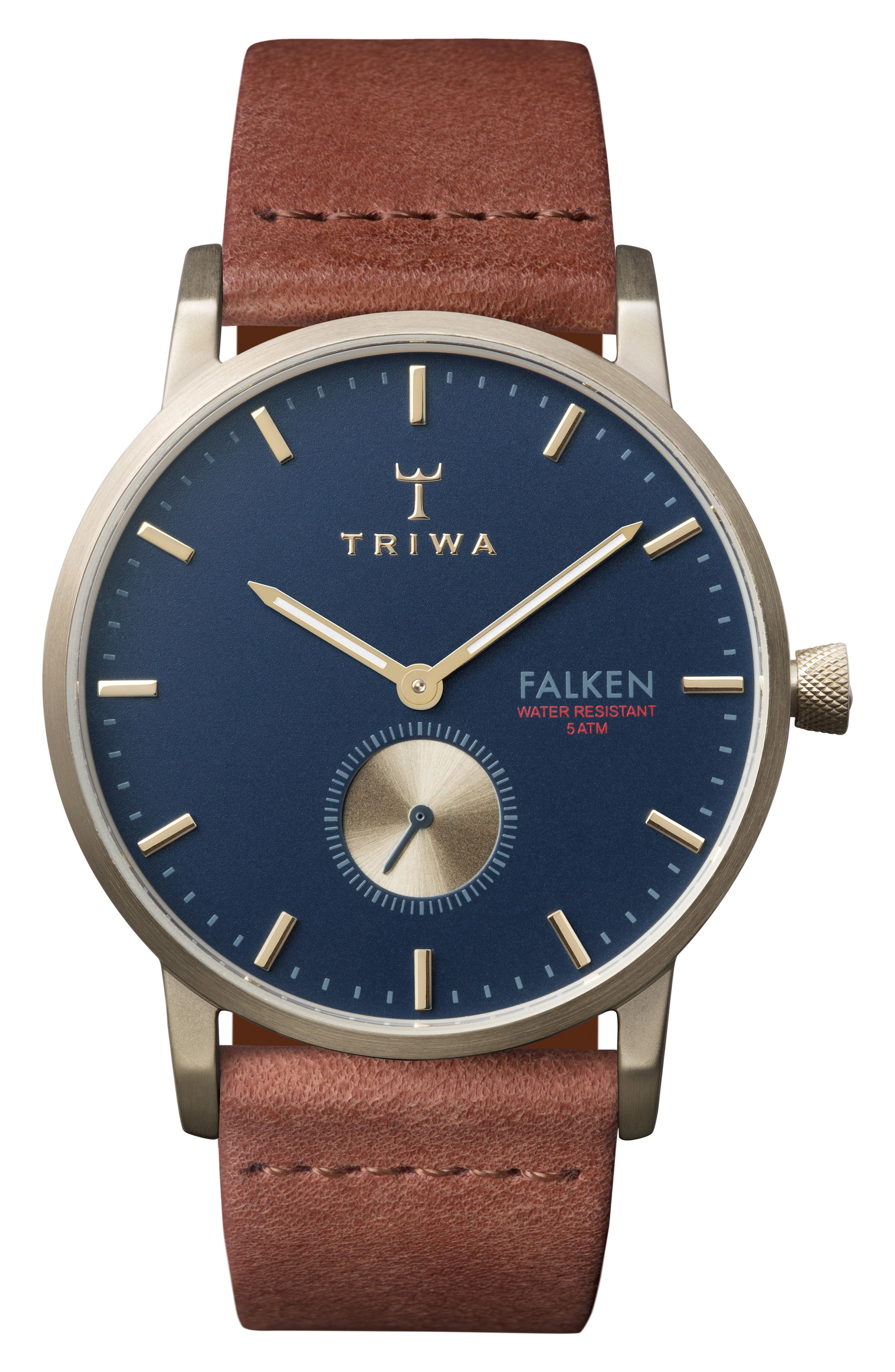 Loch Falken Organic Leather Strap Watch, 38mm,                         Main,                         color, Brown/ Navy/ Gold