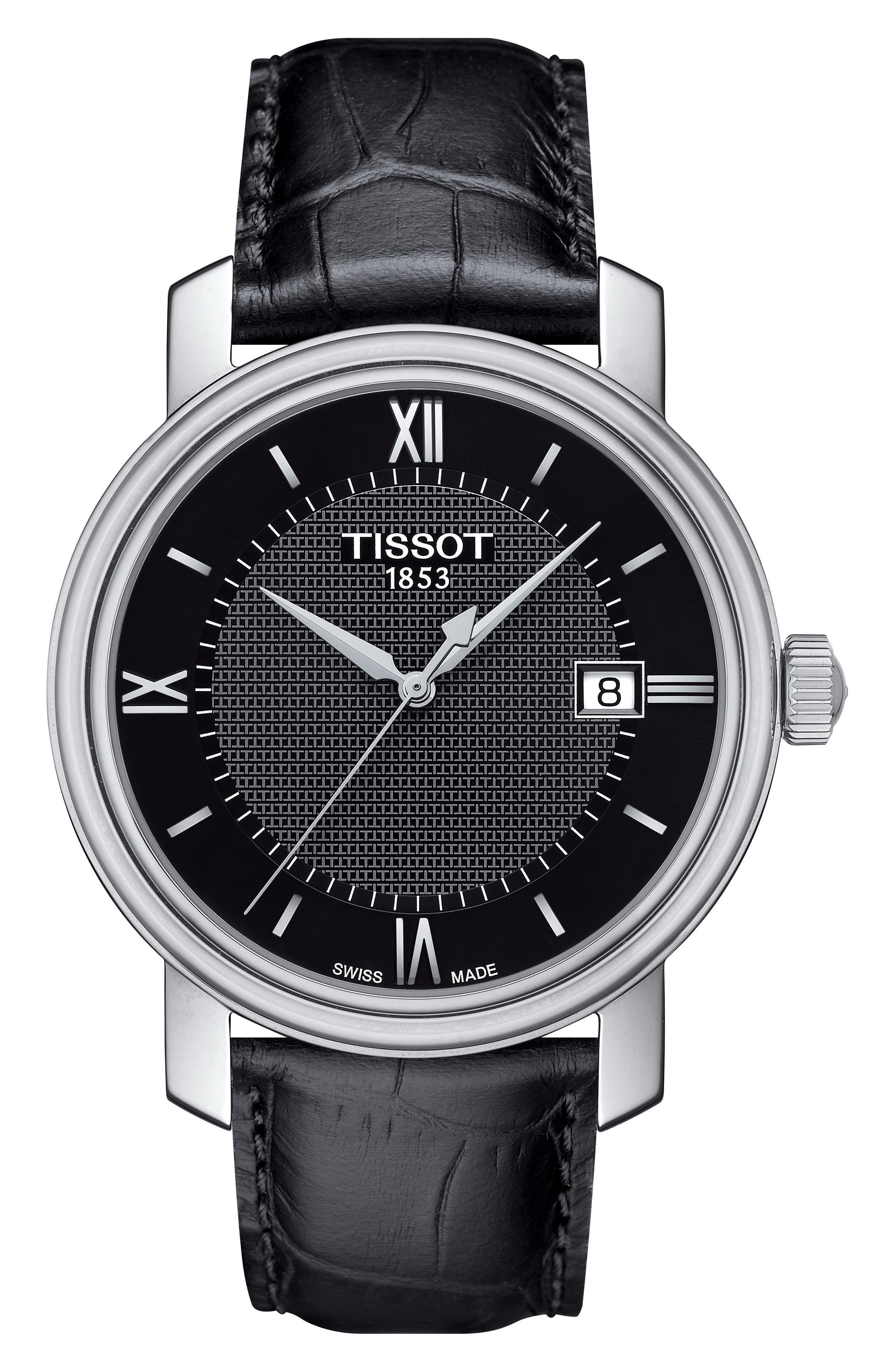TISSOT Bridgeport Leather Strap Watch, 40mm