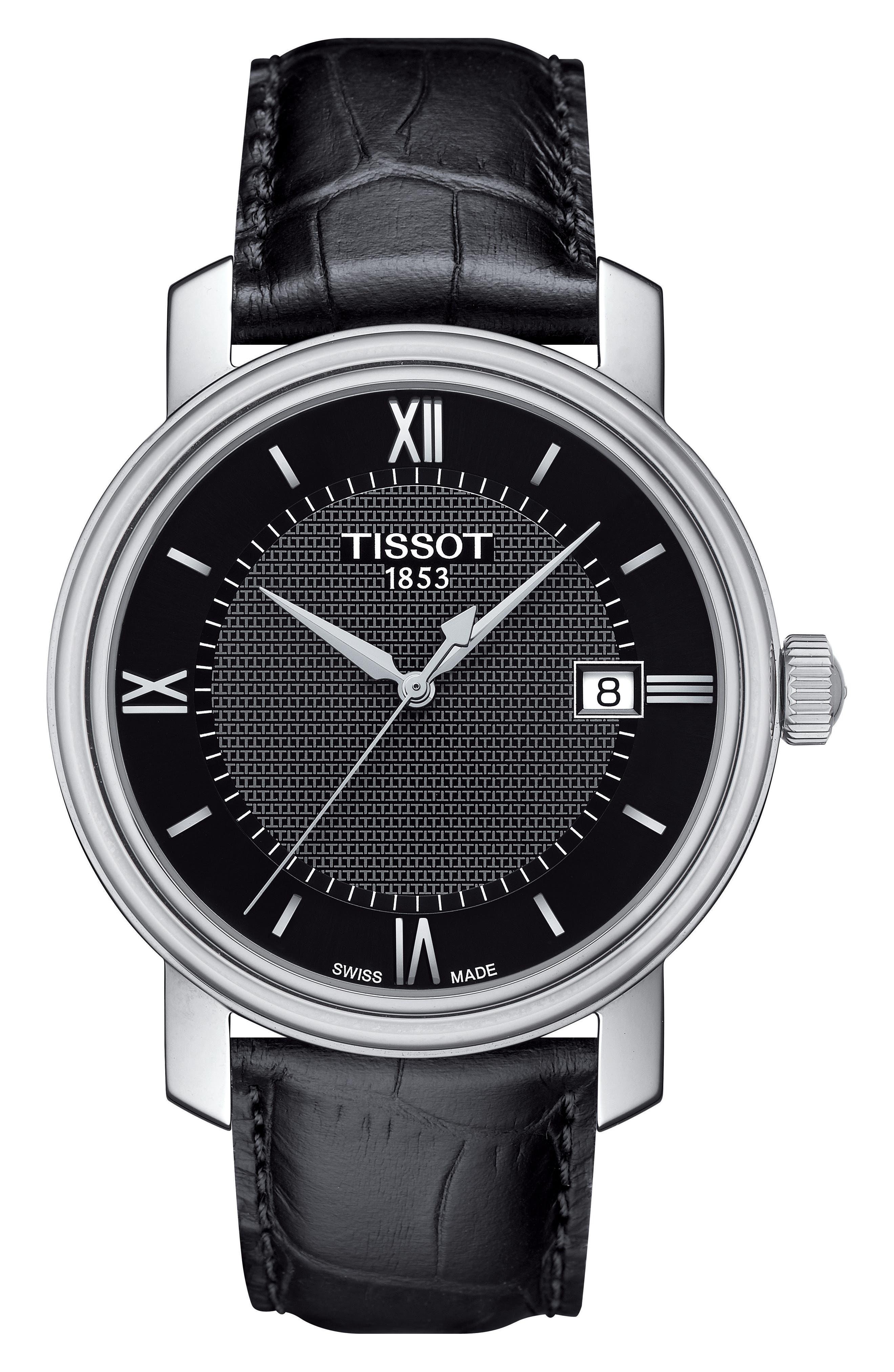 Tissot Bridgeport Leather Strap Watch, 40mm