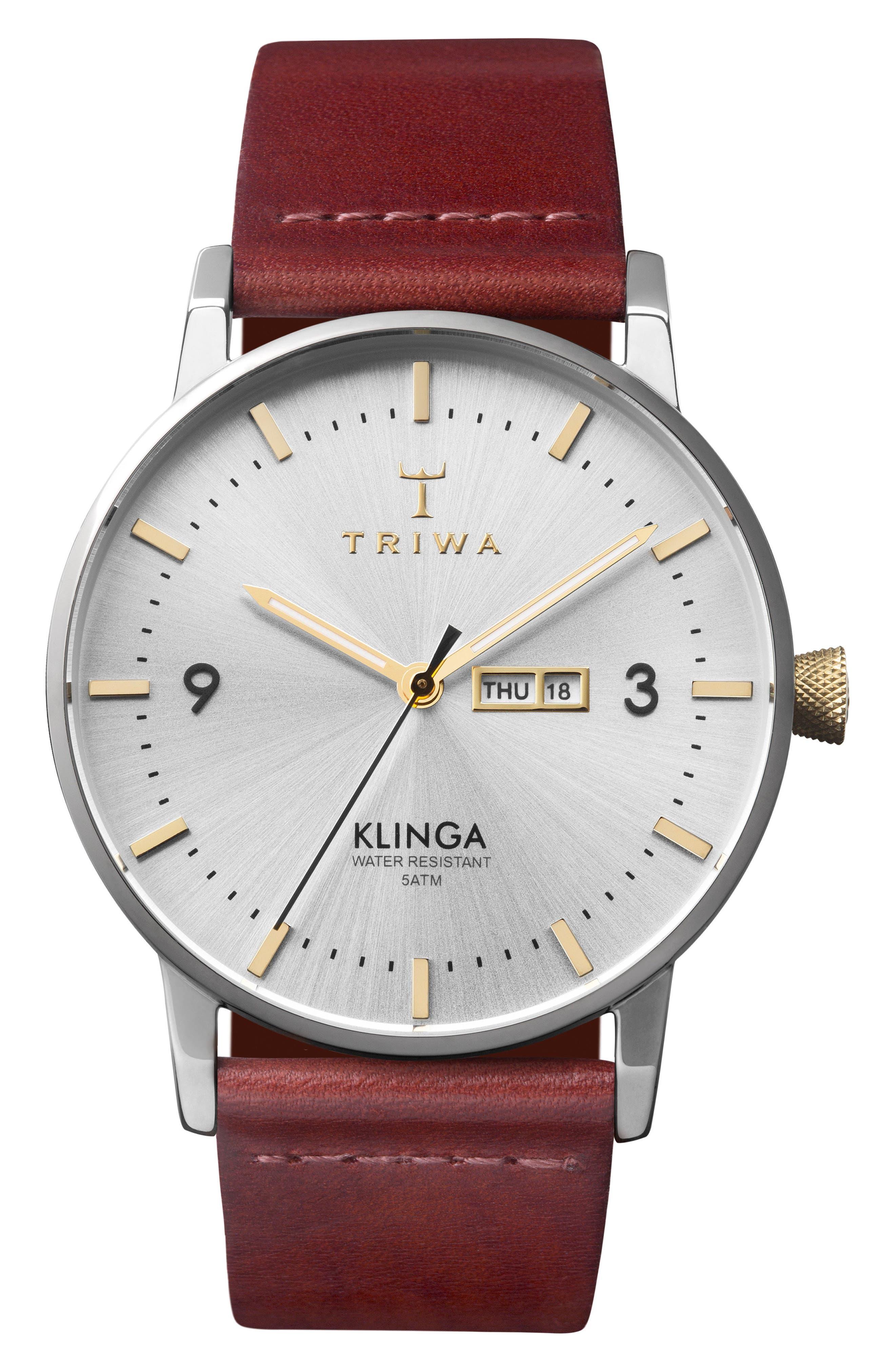 Alternate Image 1 Selected - TRIWA Klinga Leather Strap Watch, 38mm