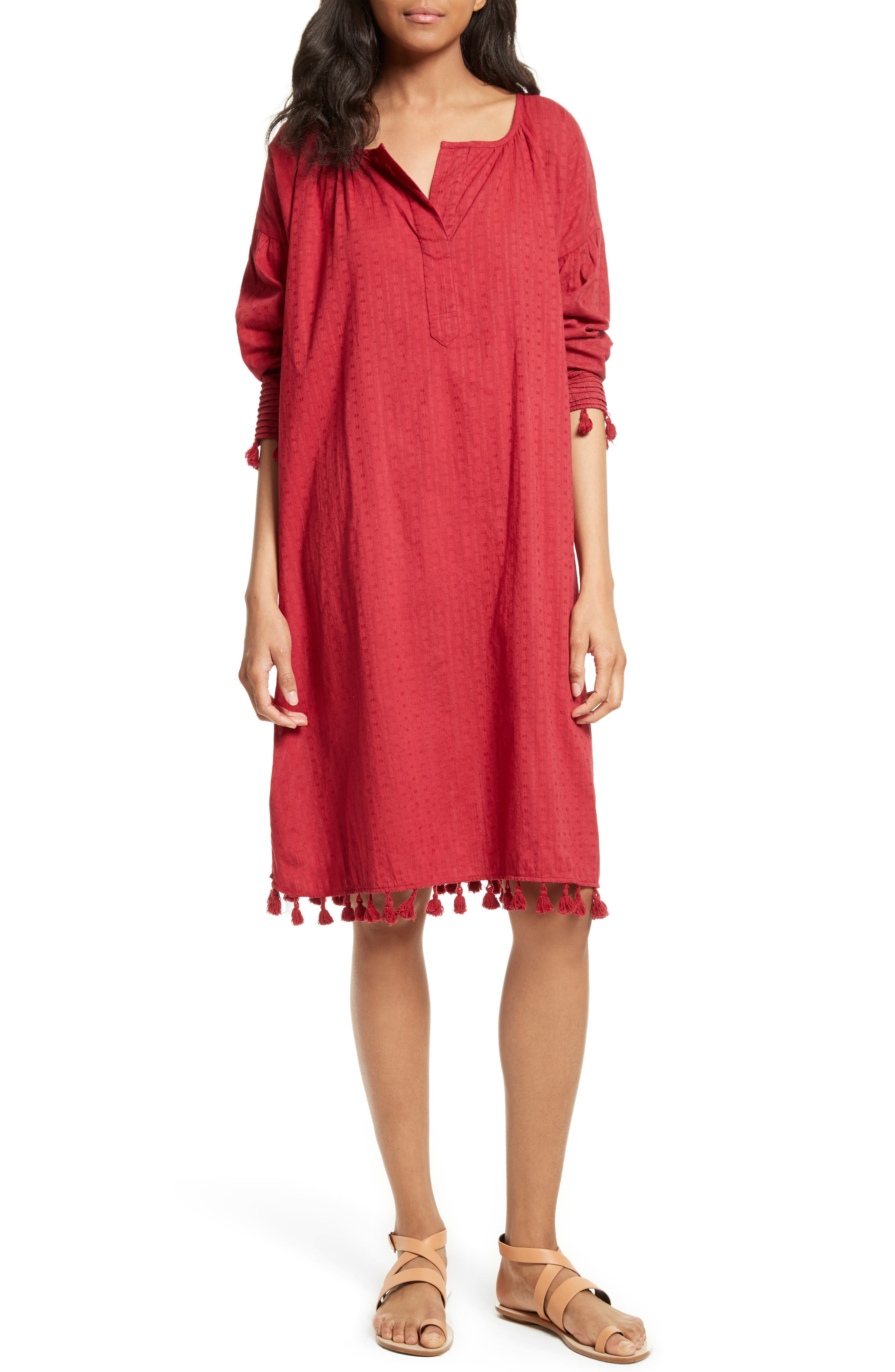 The Tassel Tunic Dress,                         Main,                         color, Red