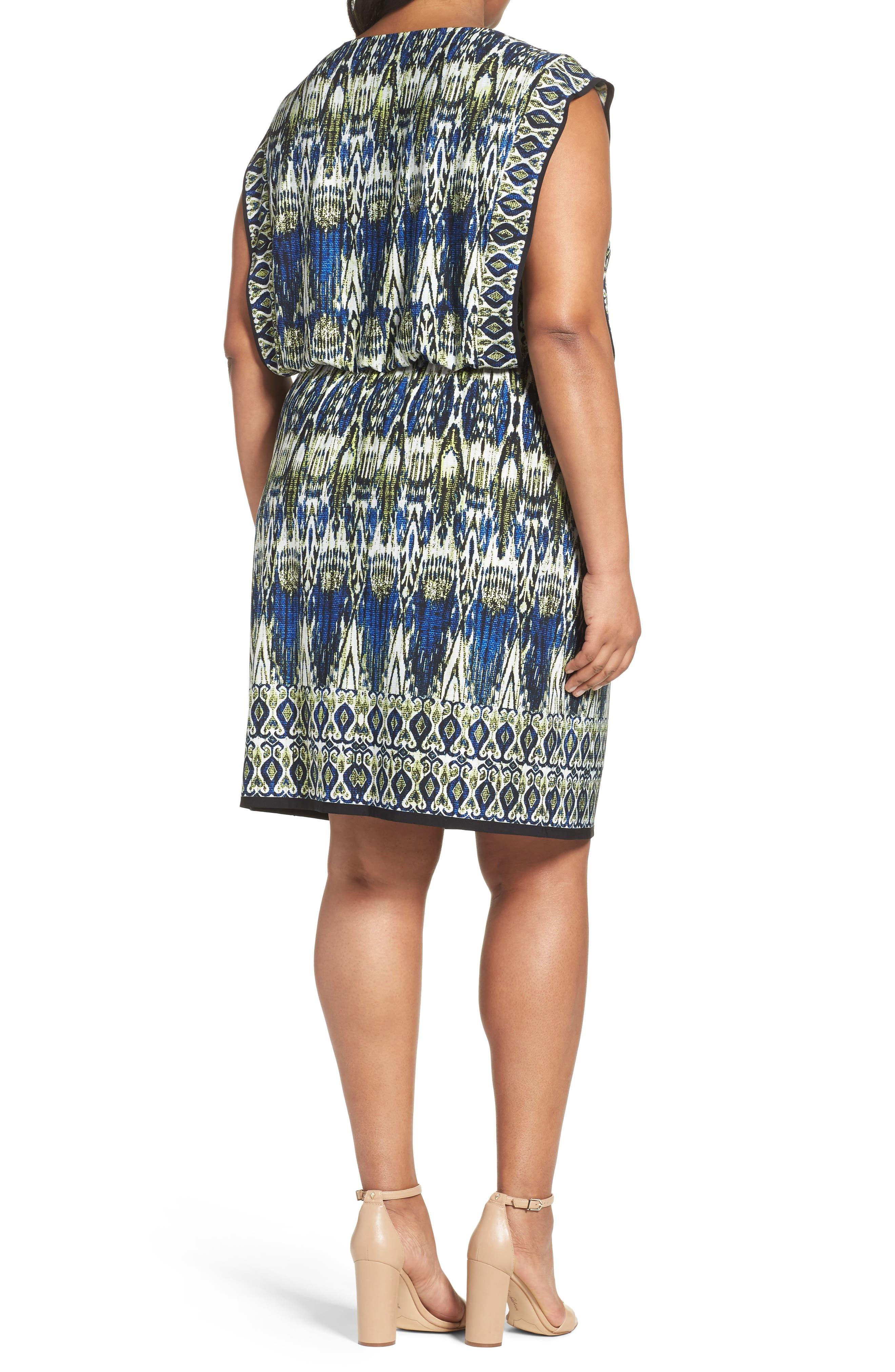 Alternate Image 2  - London Times Print Jersey Blouson Dress (Plus Size)