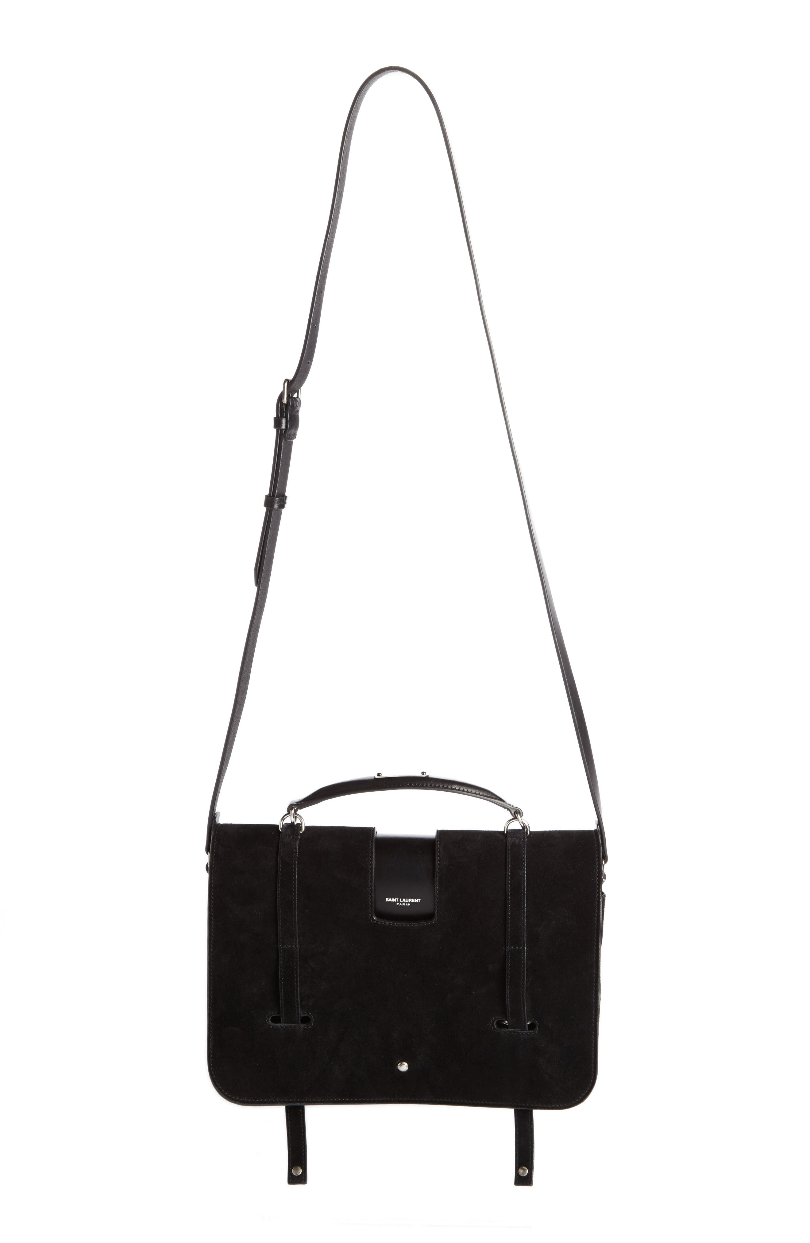 Suede Top Handle Messenger Bag,                         Main,                         color, Noir