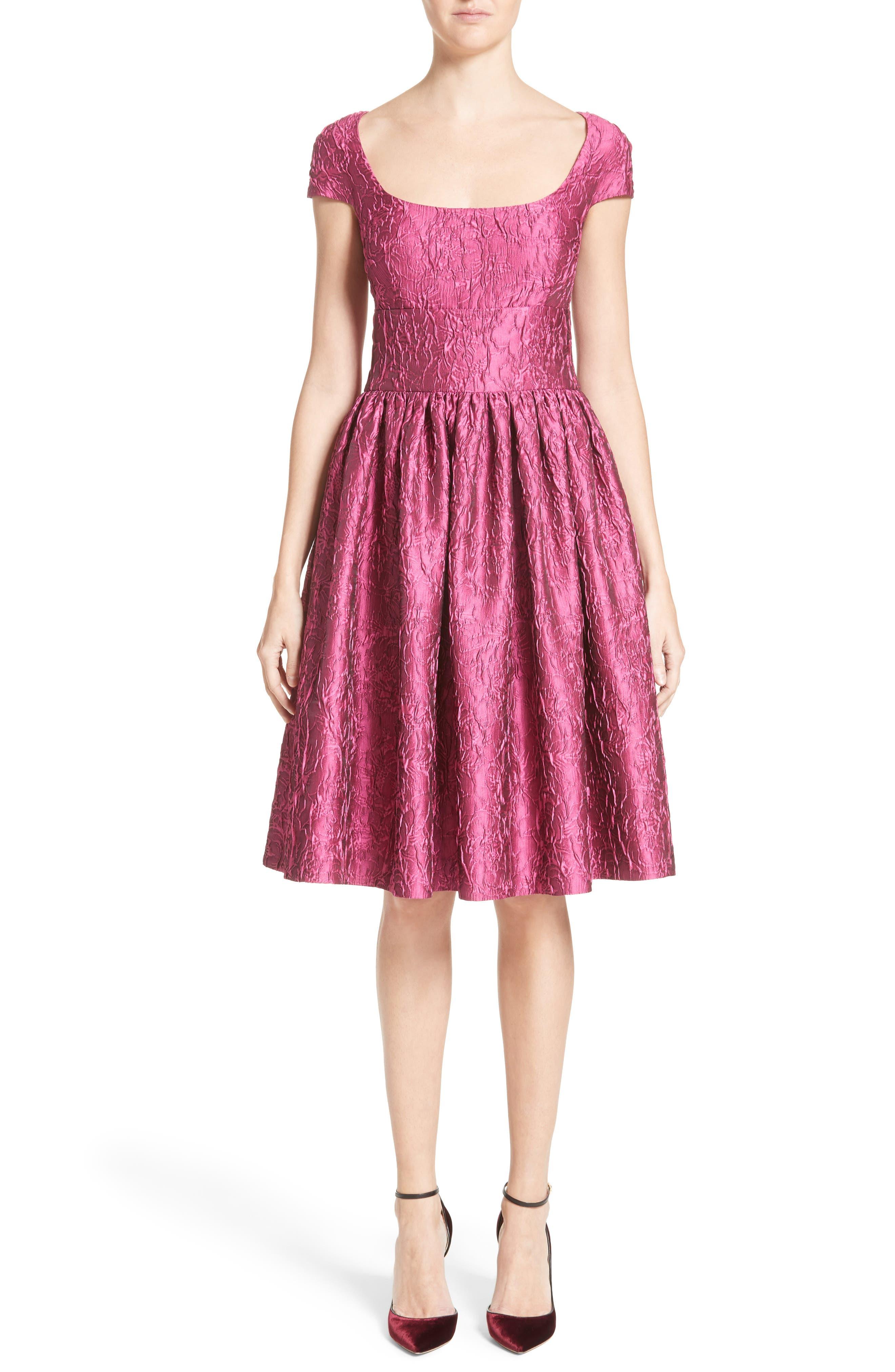 BADGLEY MISCHKA COUTURE. Badgley Mischka Couture Cap Sleeve Brocade Party Dress