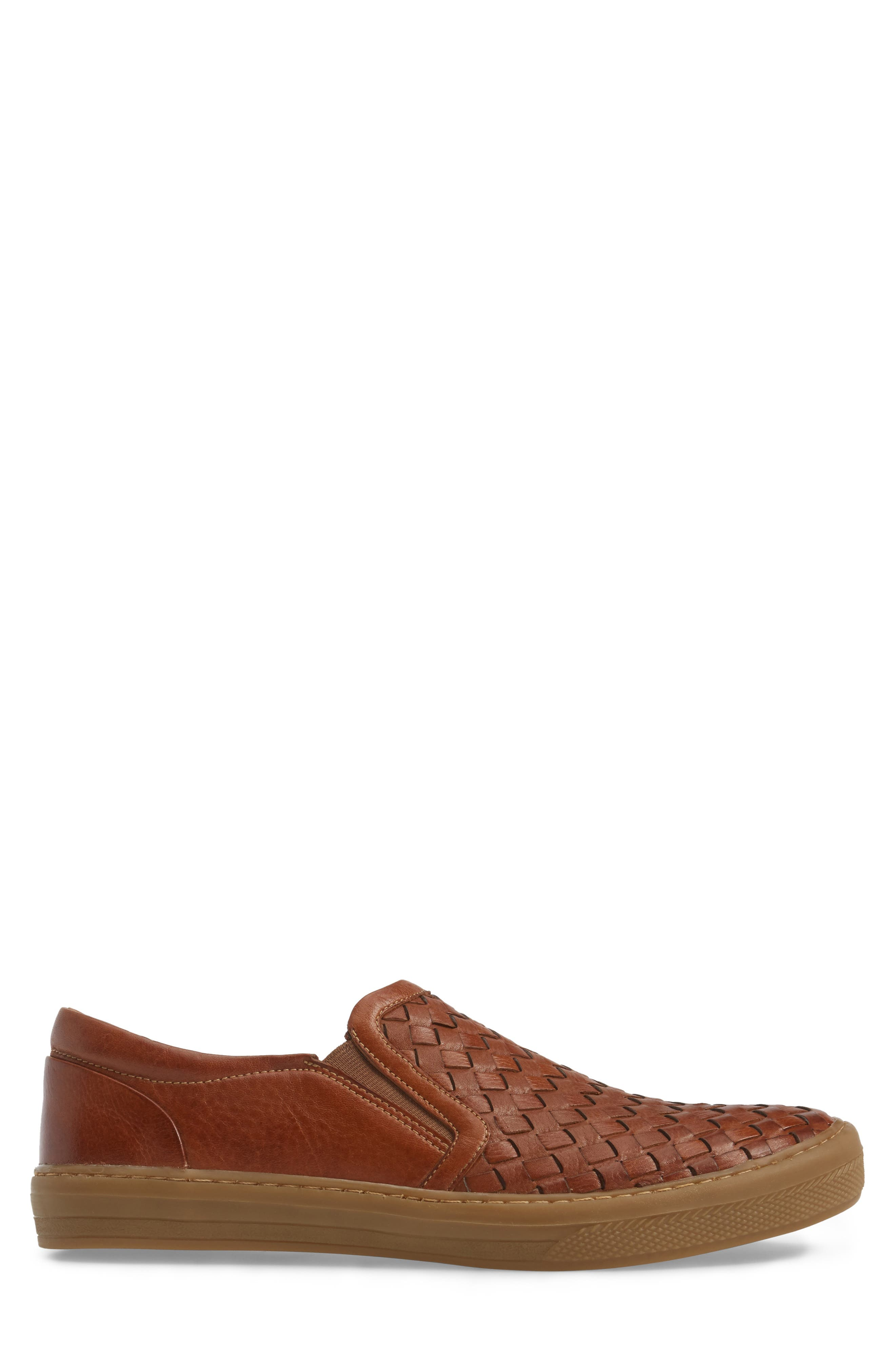 Bastos Woven Slip-On,                             Alternate thumbnail 3, color,                             Cognac Leather