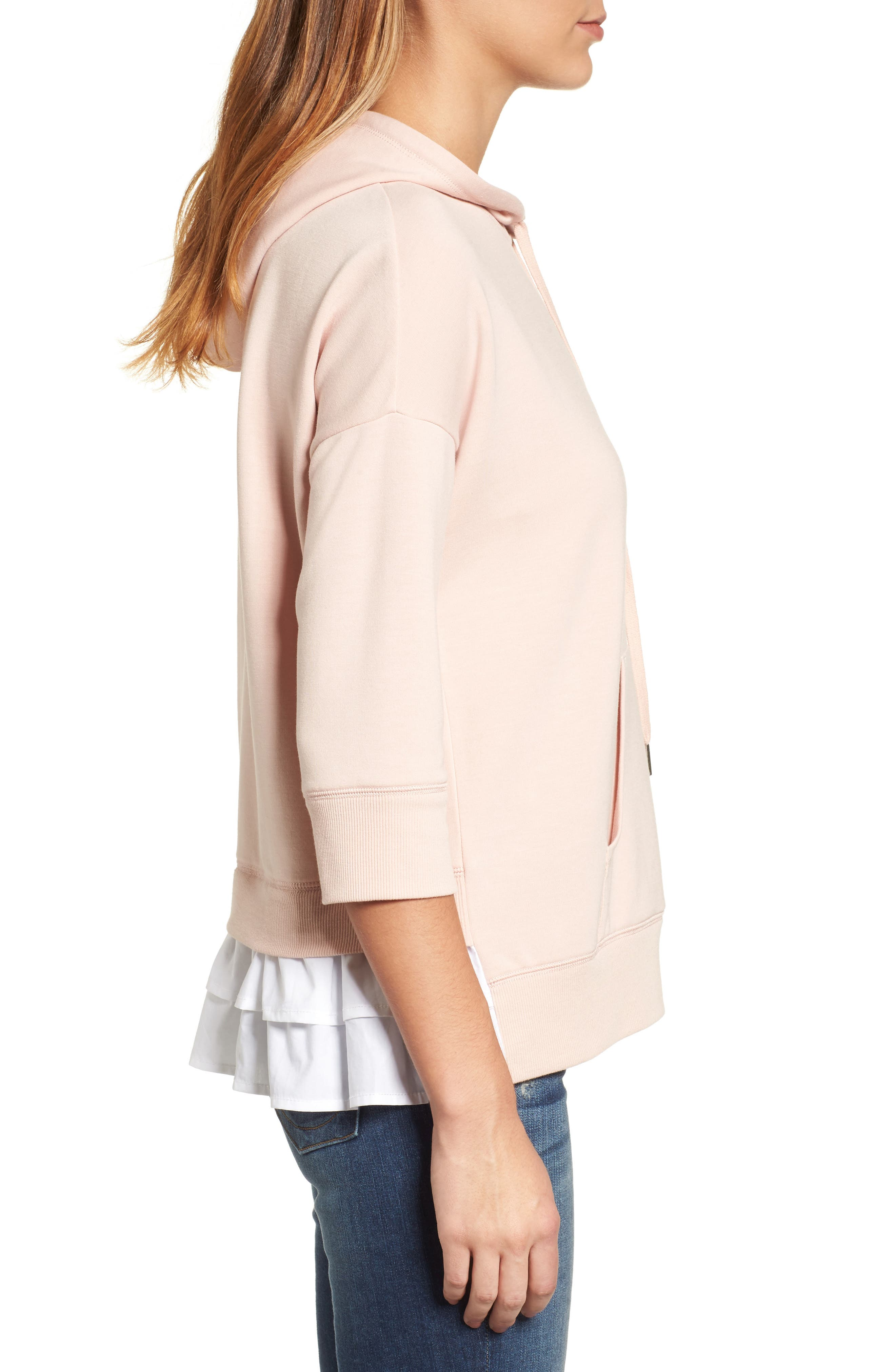 Alternate Image 4  - Caslon® Woven Inset Knit Hoodie (Regular & Petite)
