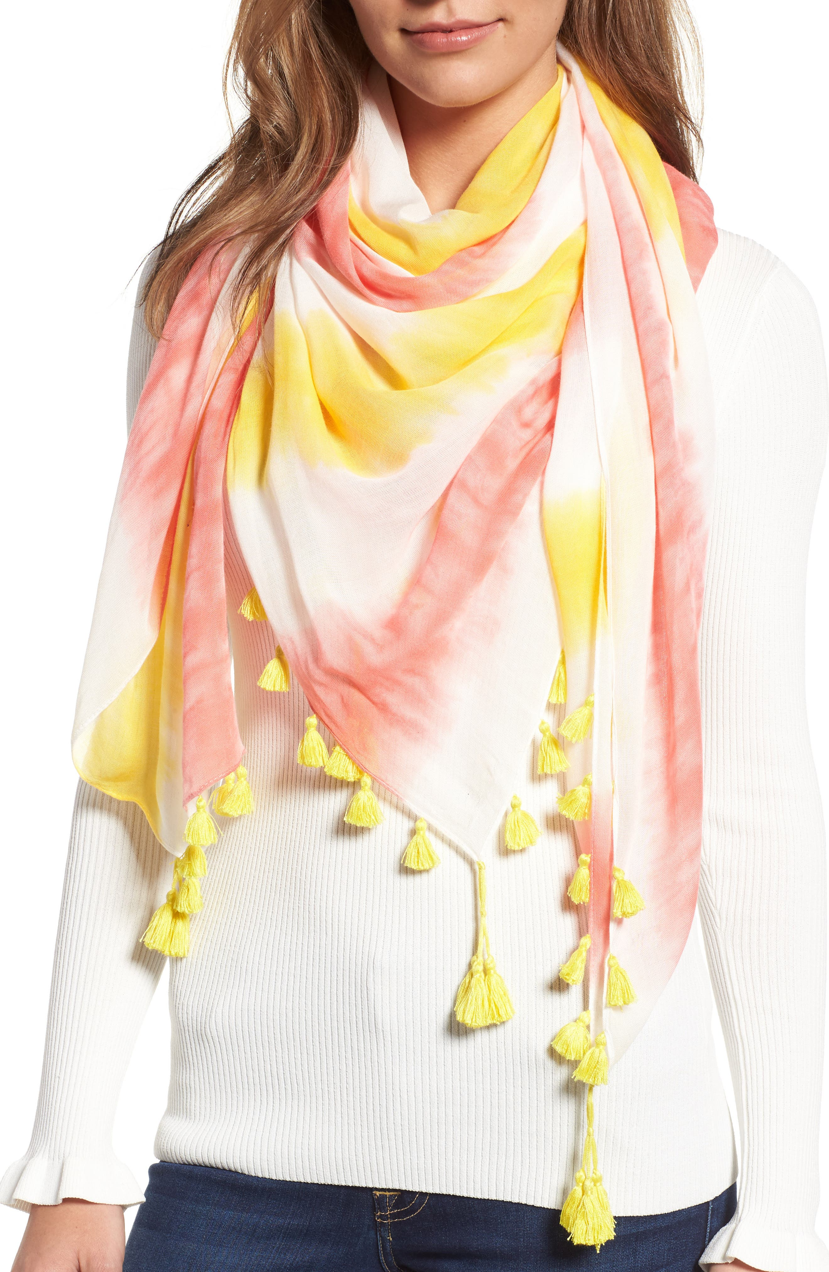 Tie Dye Square Scarf,                         Main,                         color, Hibiscus Red