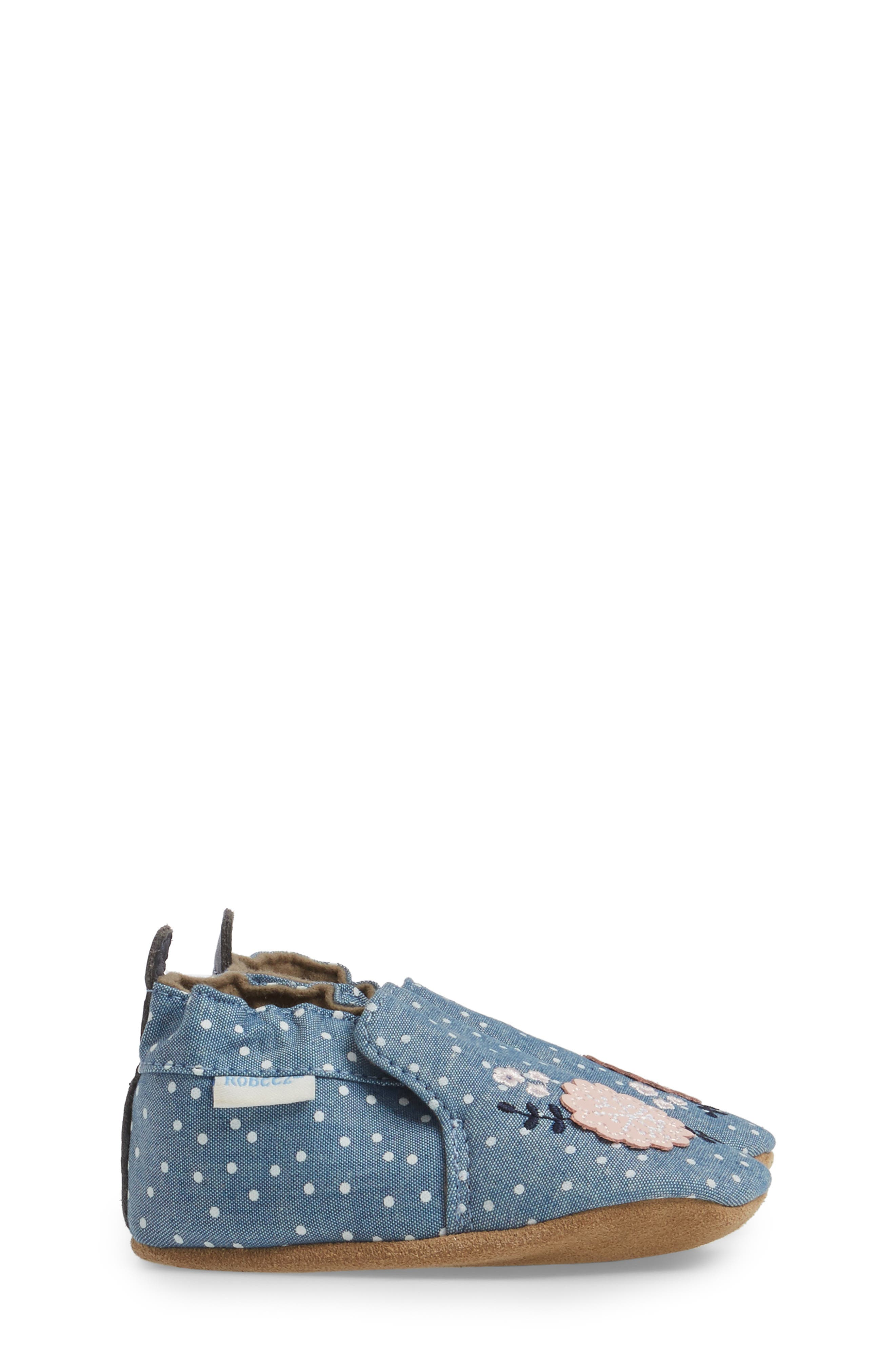 Alternate Image 3  - Robeez® Chambray Bouquet Slip-On Crib Shoe (Baby & Walker)
