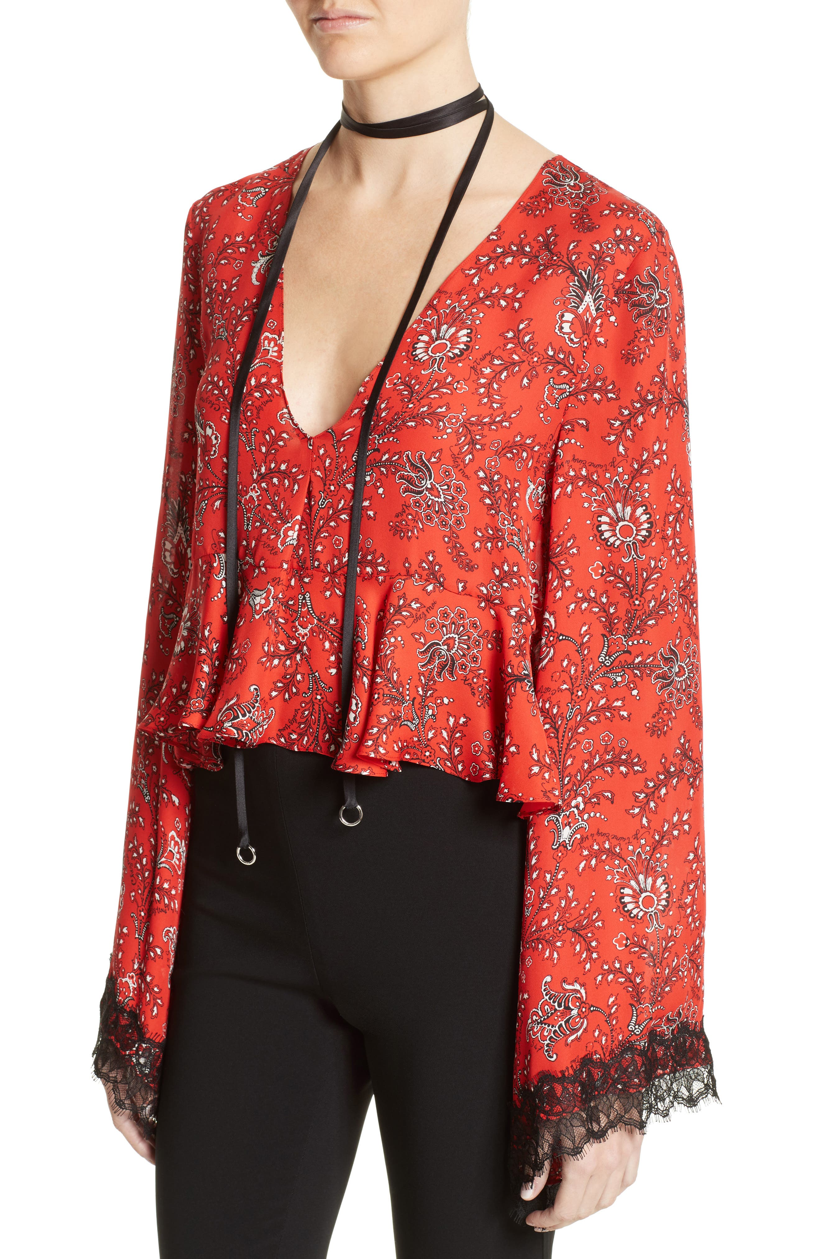 Jemma Print Silk Top,                             Alternate thumbnail 5, color,                             Vermillion Multi