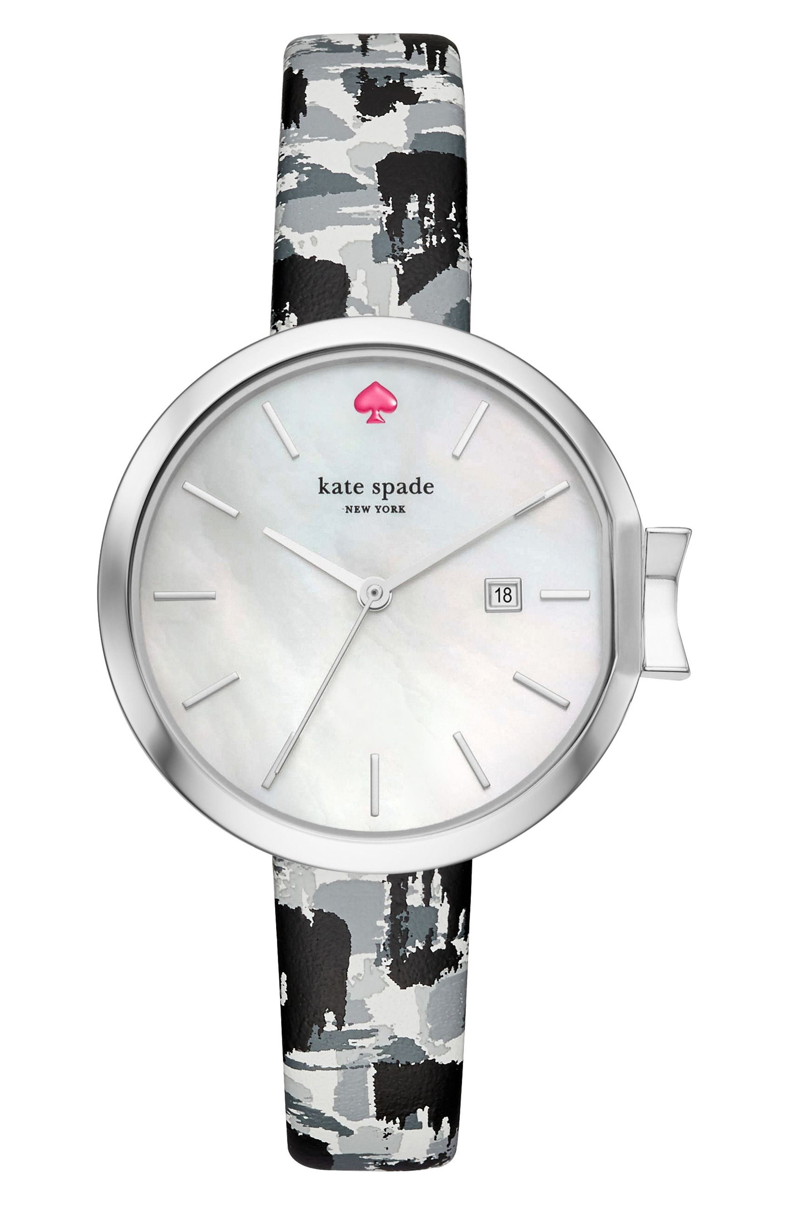 kate spade new york park row leather strap watch, 34mm