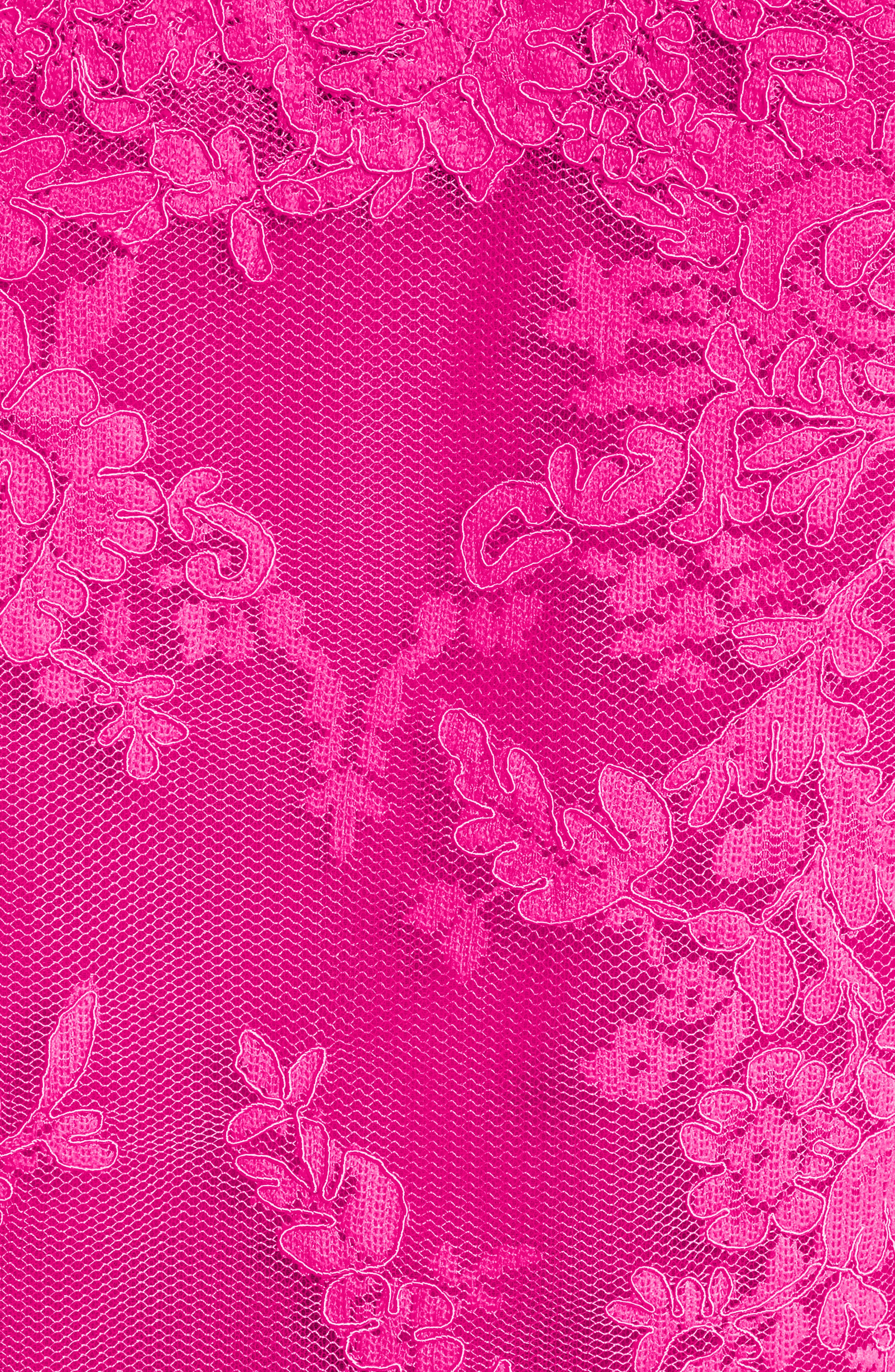 Off The Shoulder Illusion Lace Top,                             Alternate thumbnail 3, color,                             Fuchsia