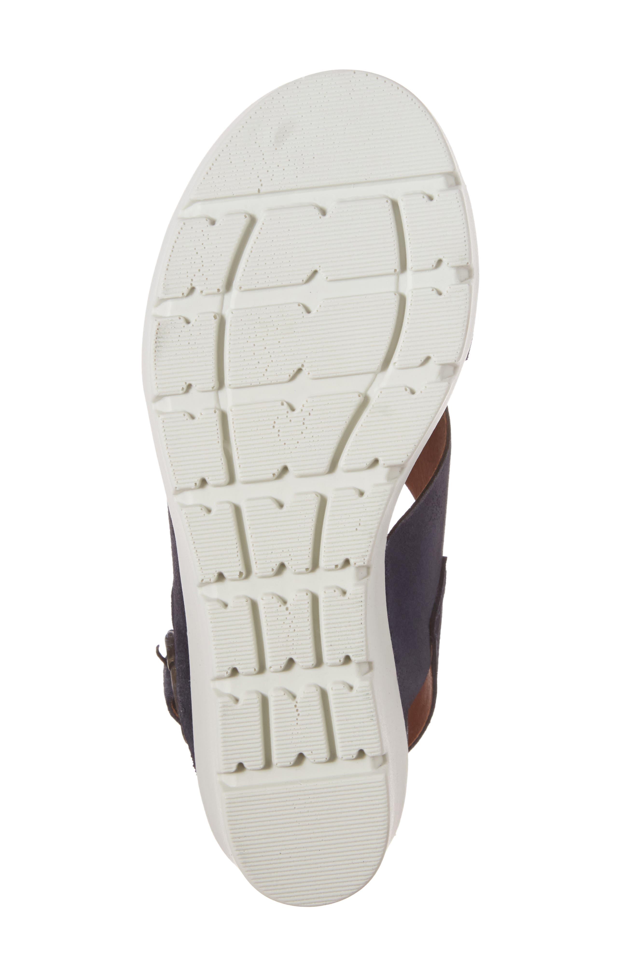 Payton Platform Wedge Sandal,                             Alternate thumbnail 6, color,                             Navy Glitter Suede