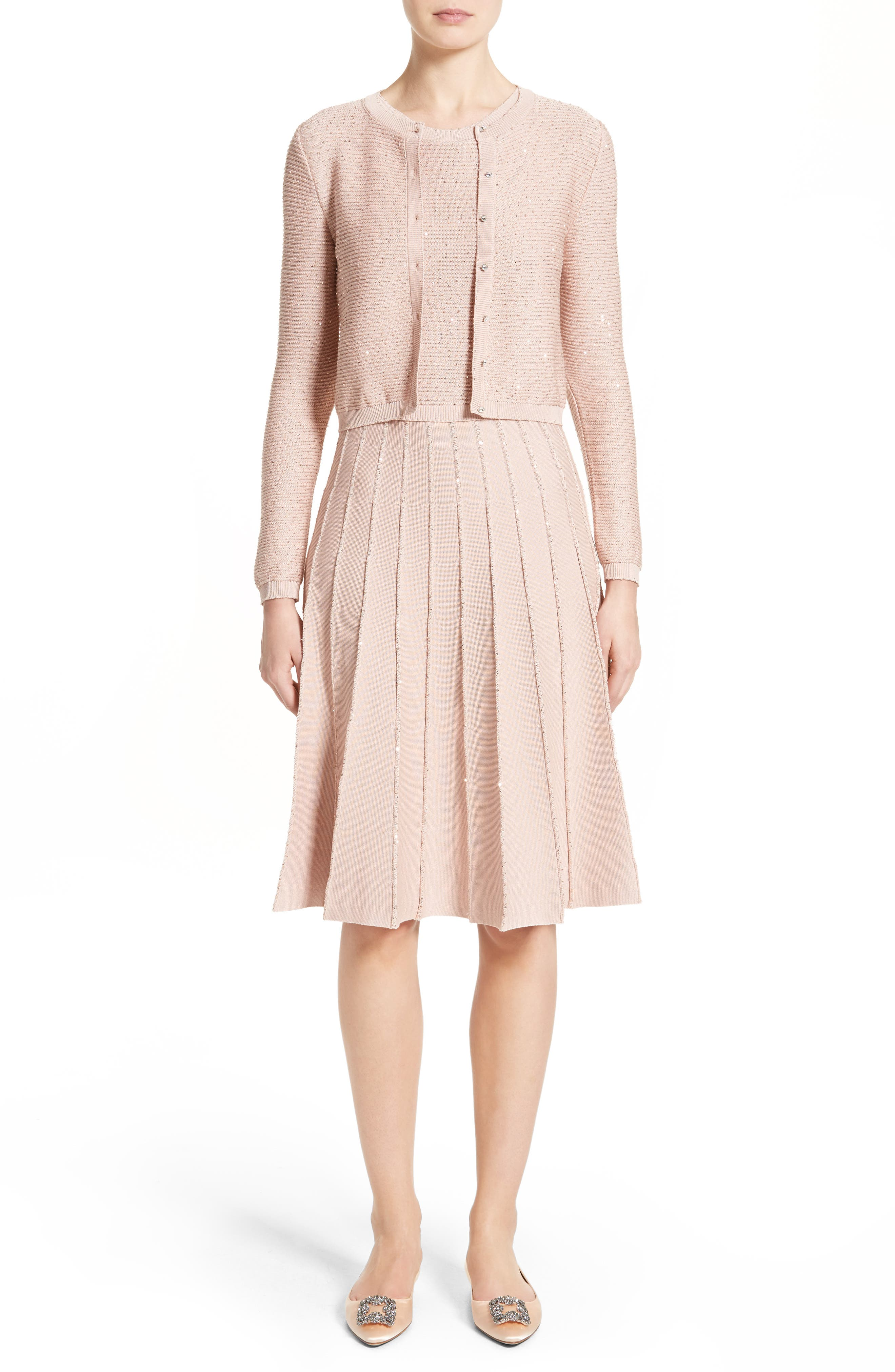 Alternate Image 7  - Oscar de la Renta Sparkle Knit Pleated Dress