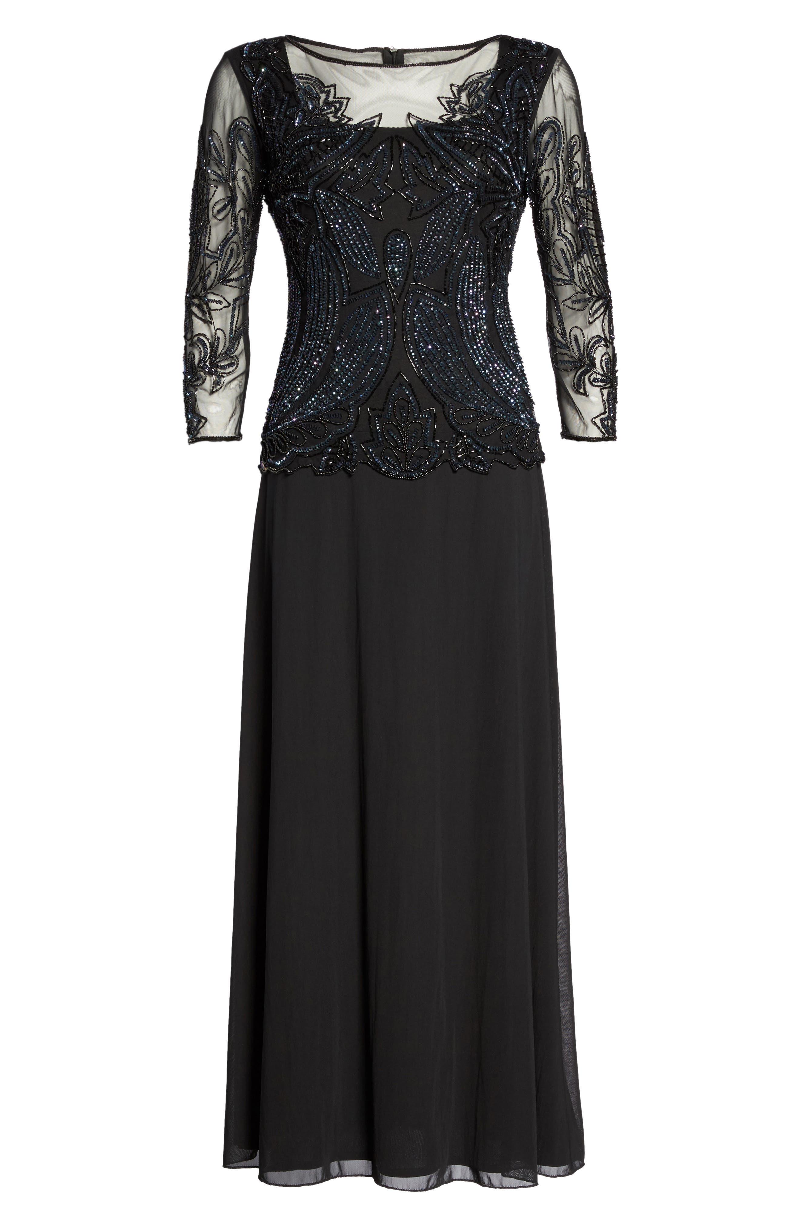 Alternate Image 6  - Pisarro Nights Embellished Mesh Gown (Regular & Petite)