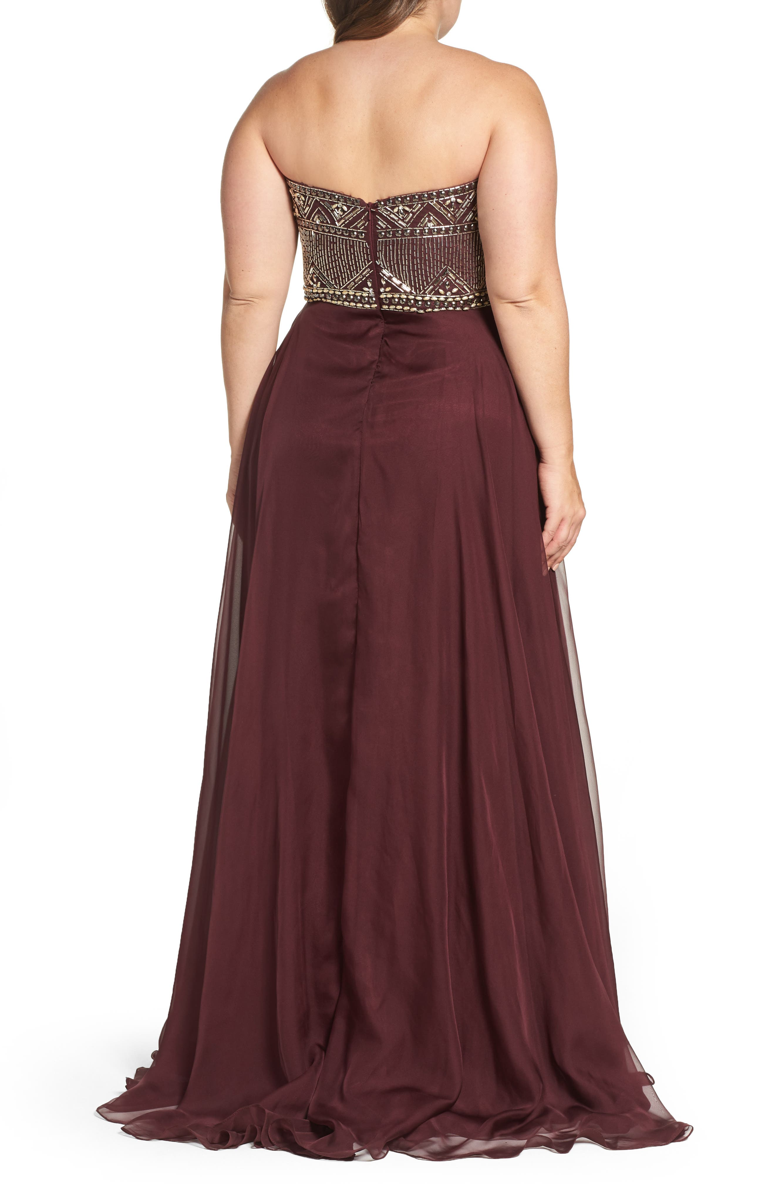 Beaded Bodice Strapless Chiffon Gown,                             Alternate thumbnail 2, color,                             Burgundy