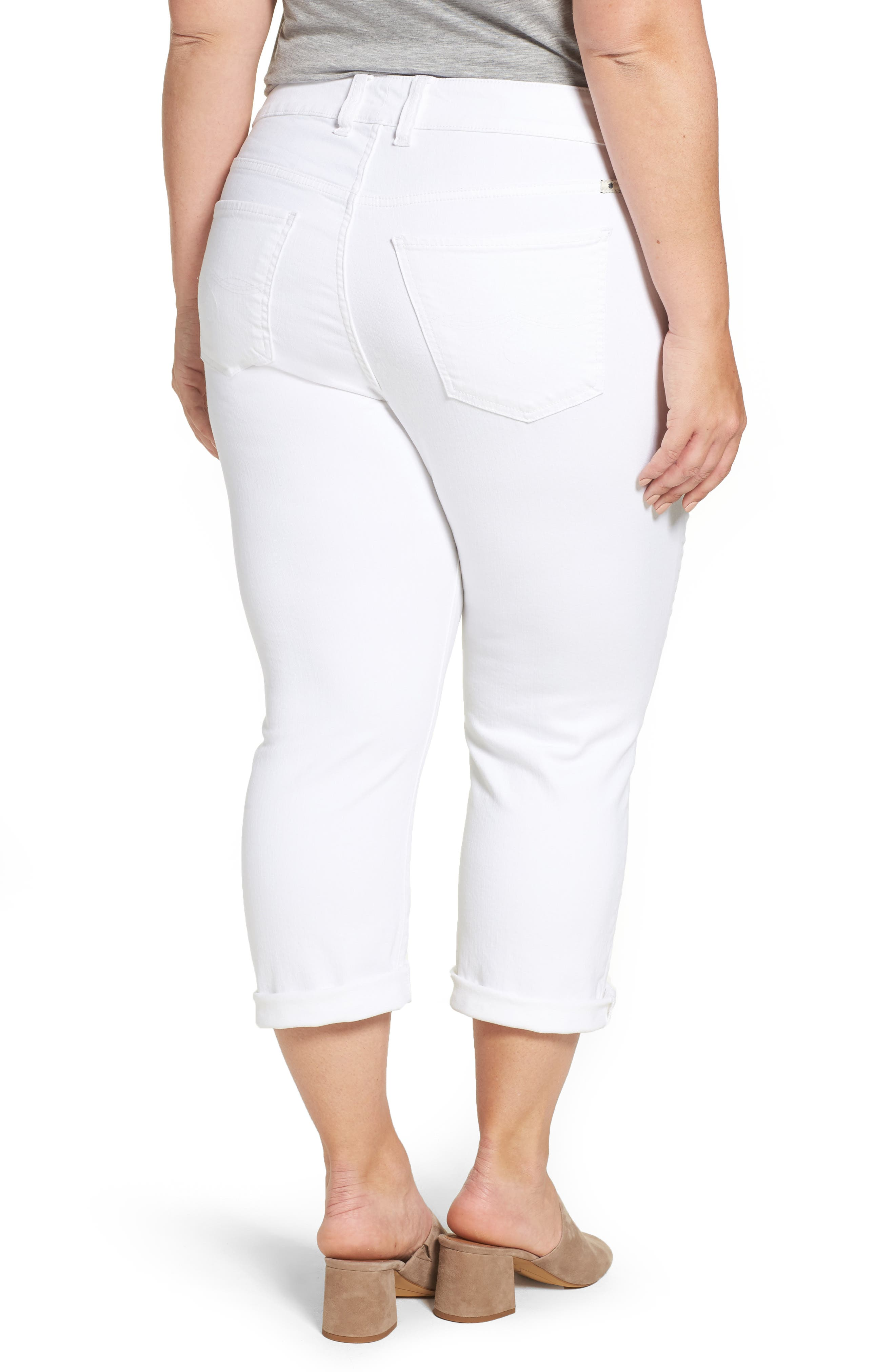 Emma Stretch Crop Jeans,                             Alternate thumbnail 2, color,                             Clean White