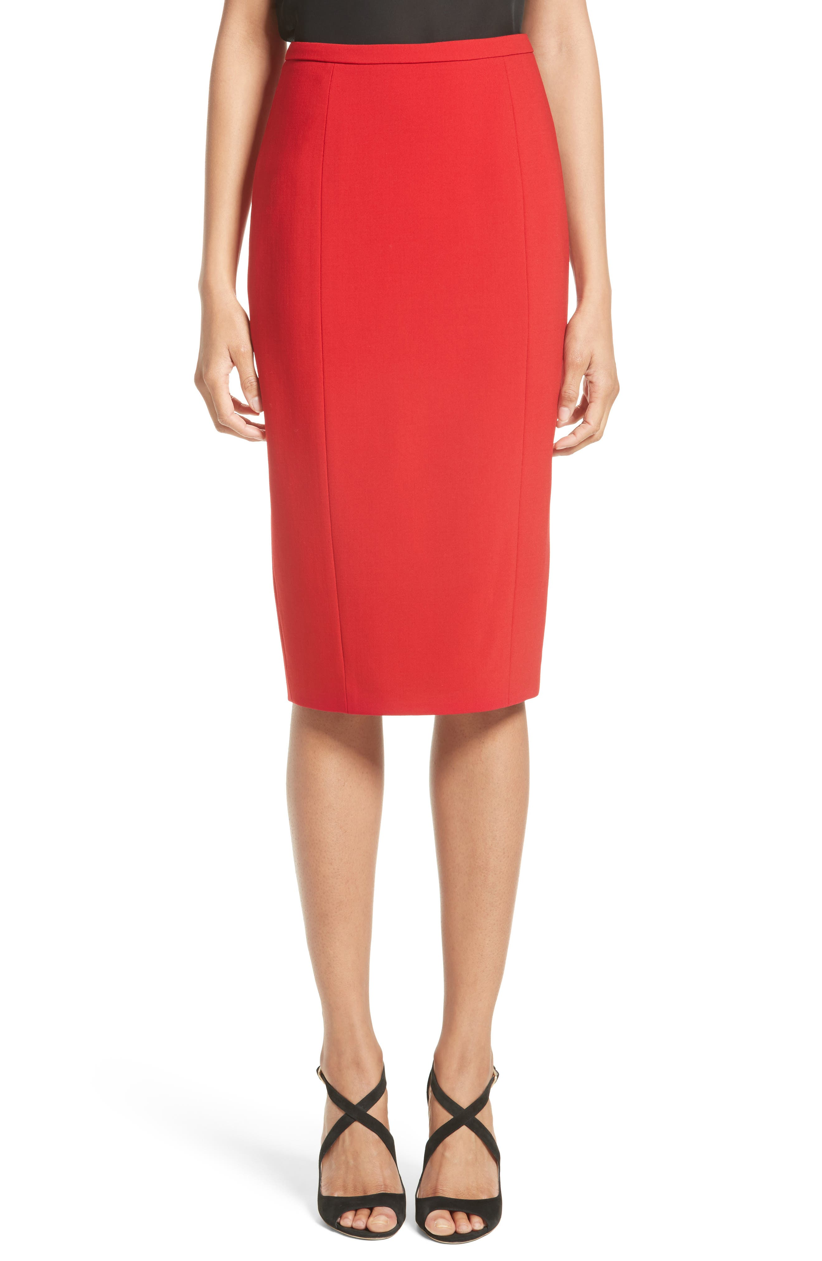 Michael Kors Stretch Pebble Crepe Pencil Skirt