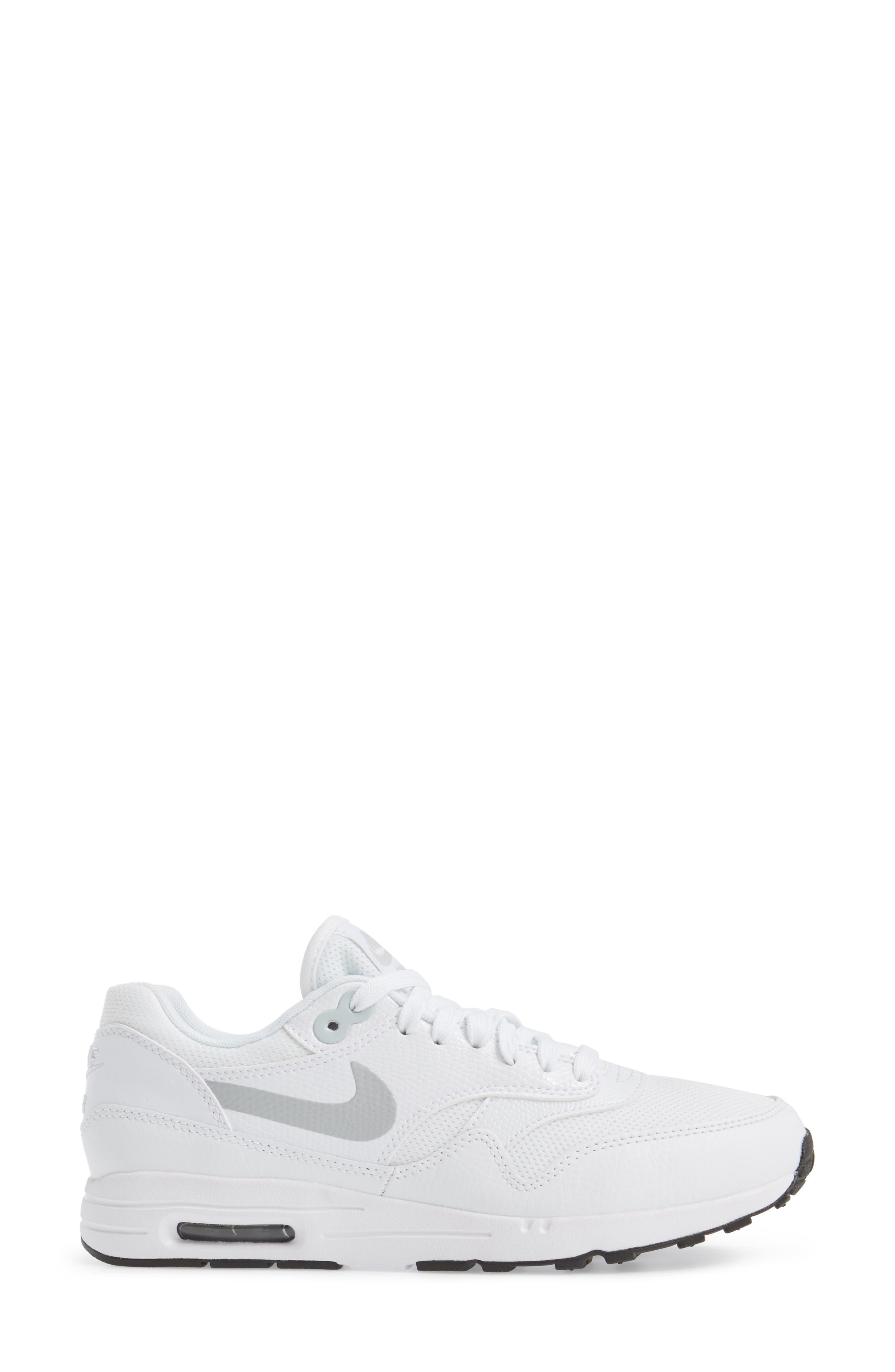 Air Max 1 Ultra 2.0 Running Shoe,                             Alternate thumbnail 3, color,                             White/ Platinum/ Black/ White
