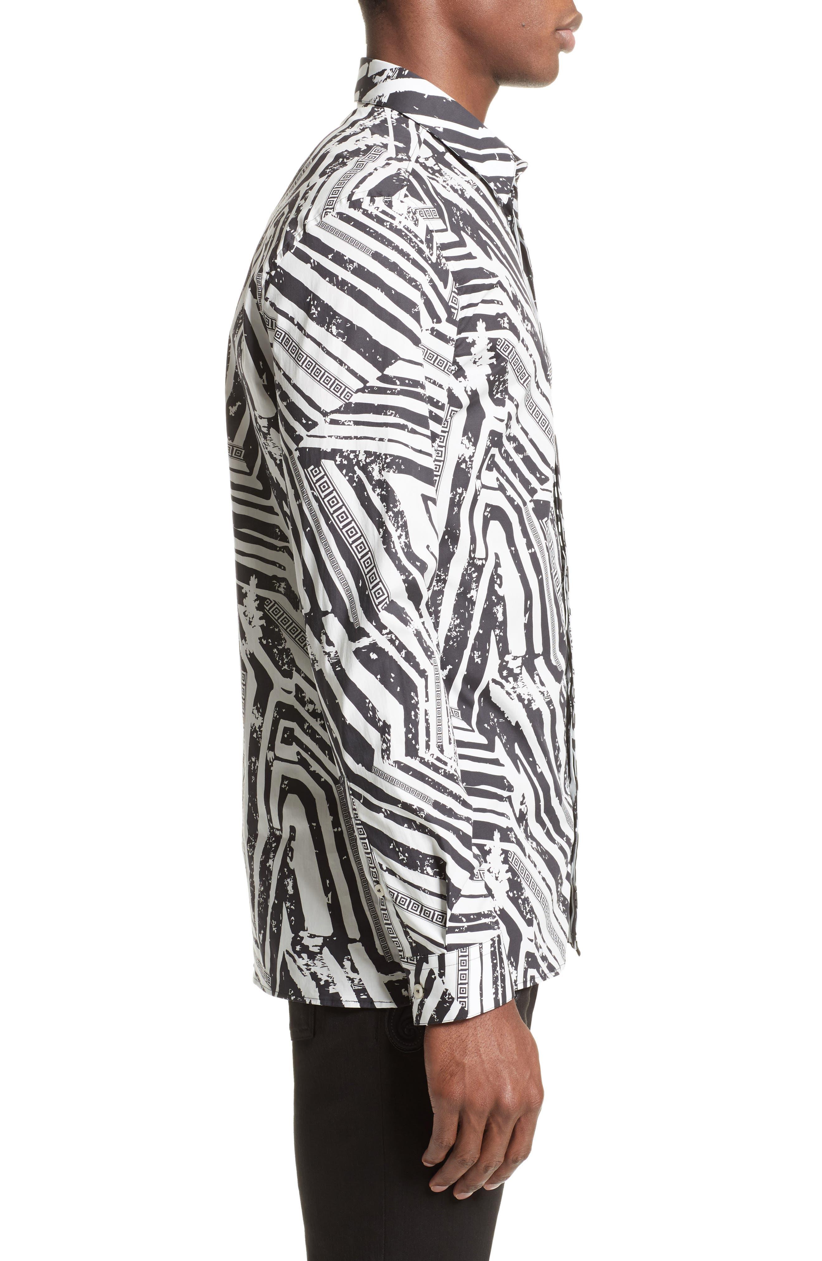 Slim Fit Allover Print Sport Shirt,                             Alternate thumbnail 3, color,                             White