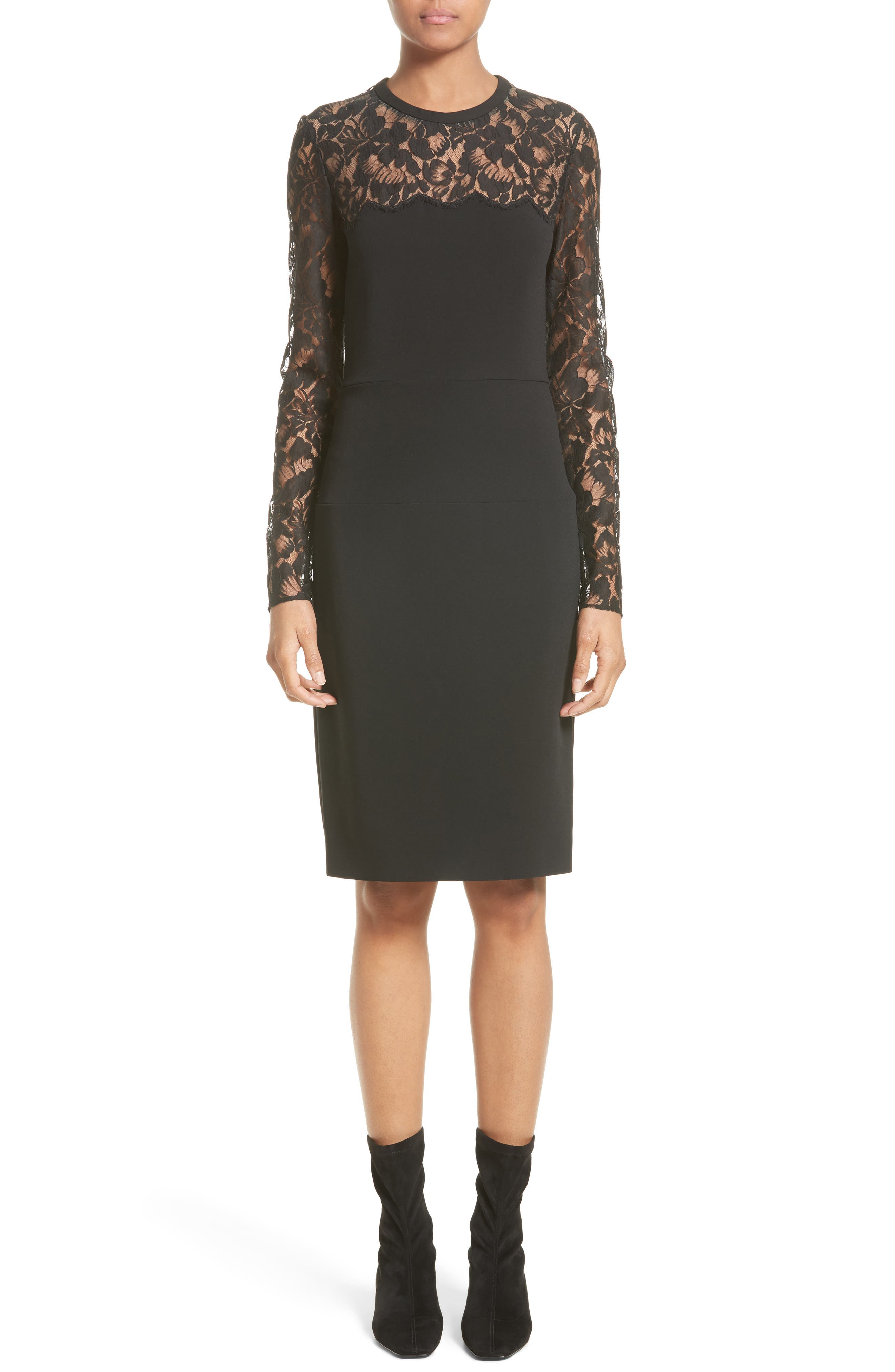Lace Illusion Sheath Dress,                         Main,                         color, Black