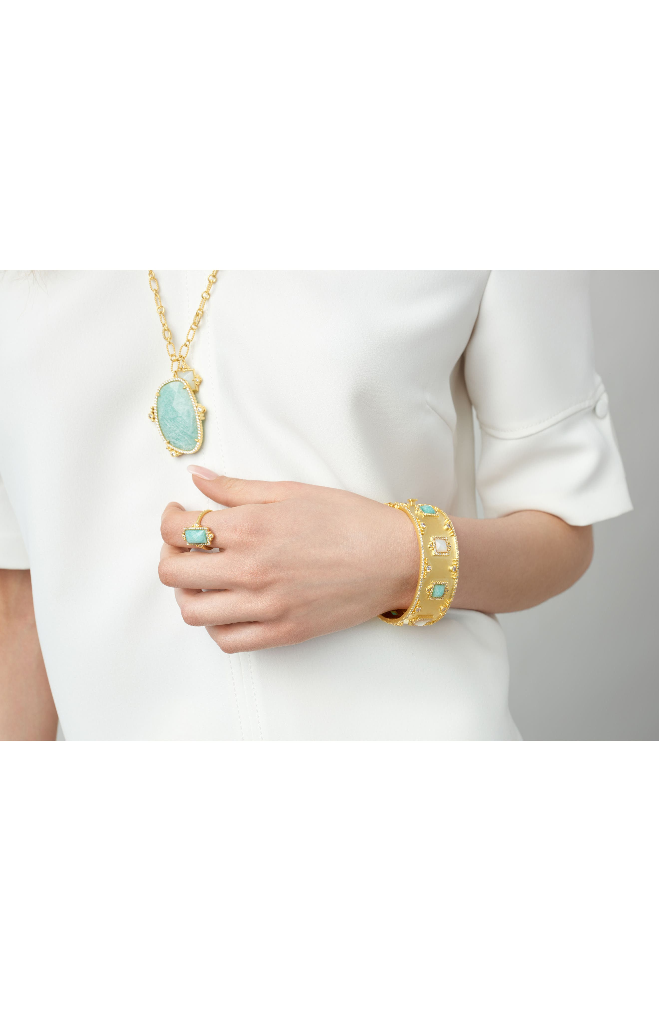 Amazonite Allure Cocktail Ring,                             Alternate thumbnail 2, color,                             Gold