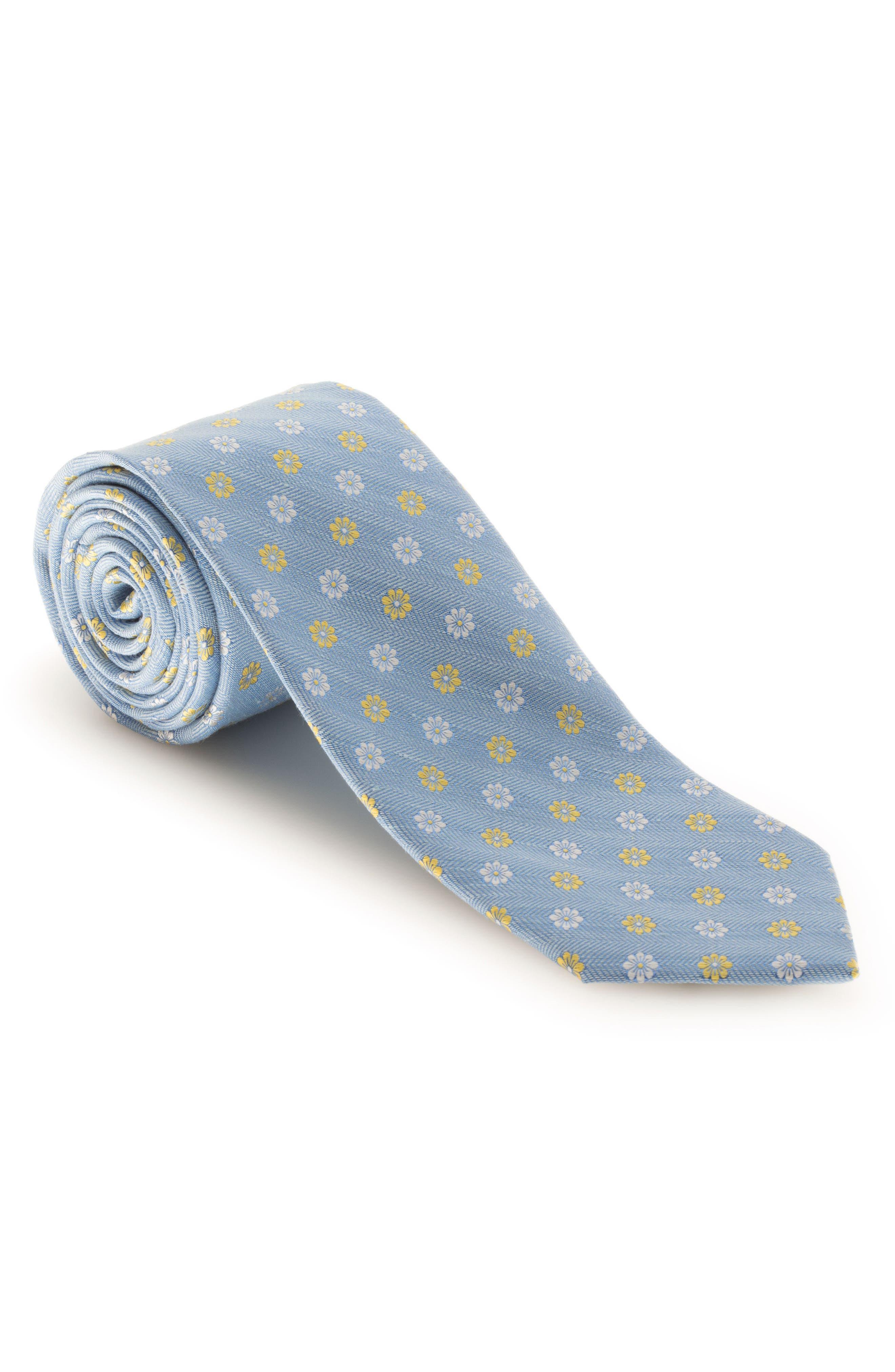 Floral Silk & Linen Tie,                         Main,                         color, Sky