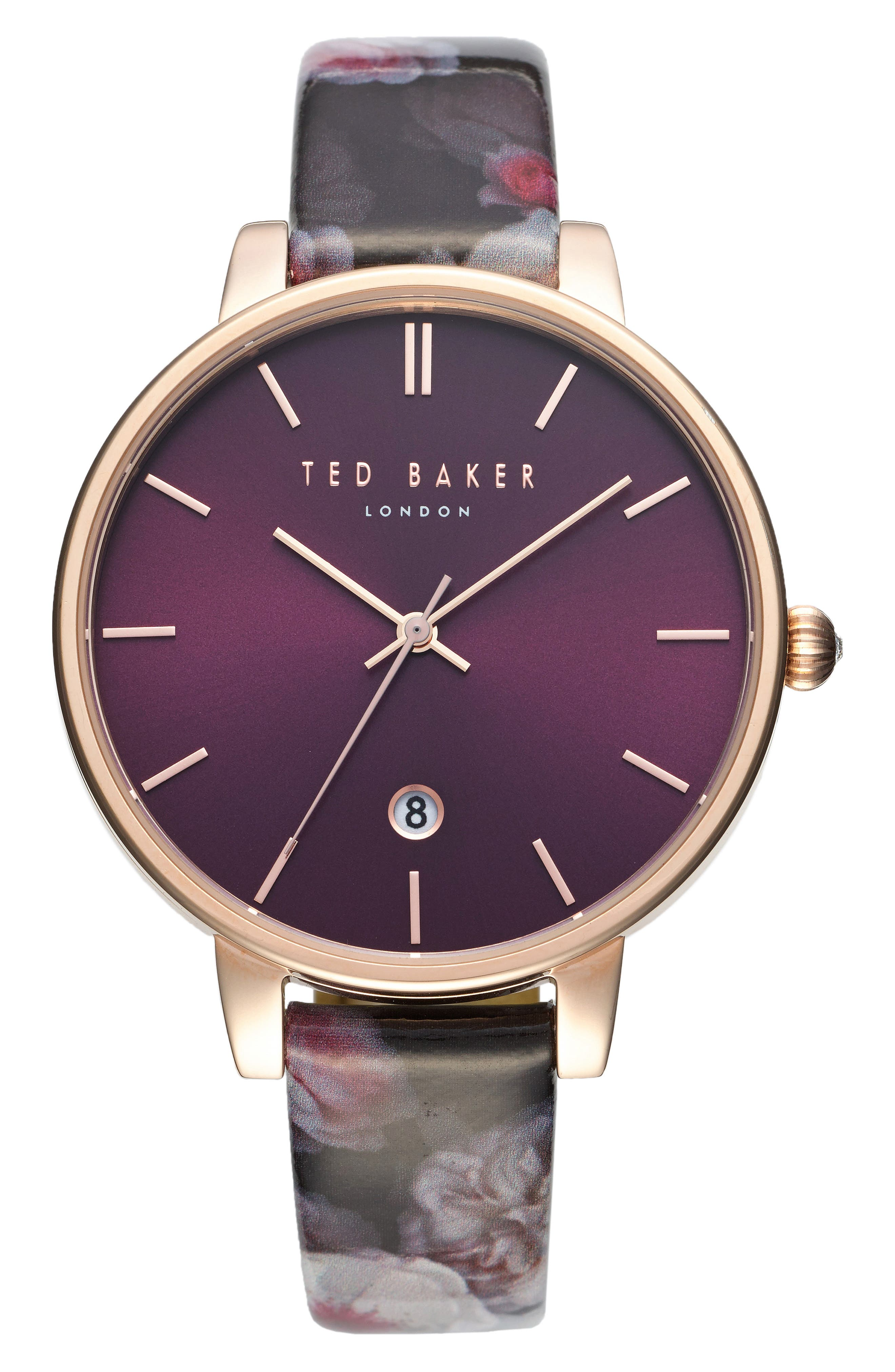 Ted Baker London Kate Print Leather Strap Watch, 38mm