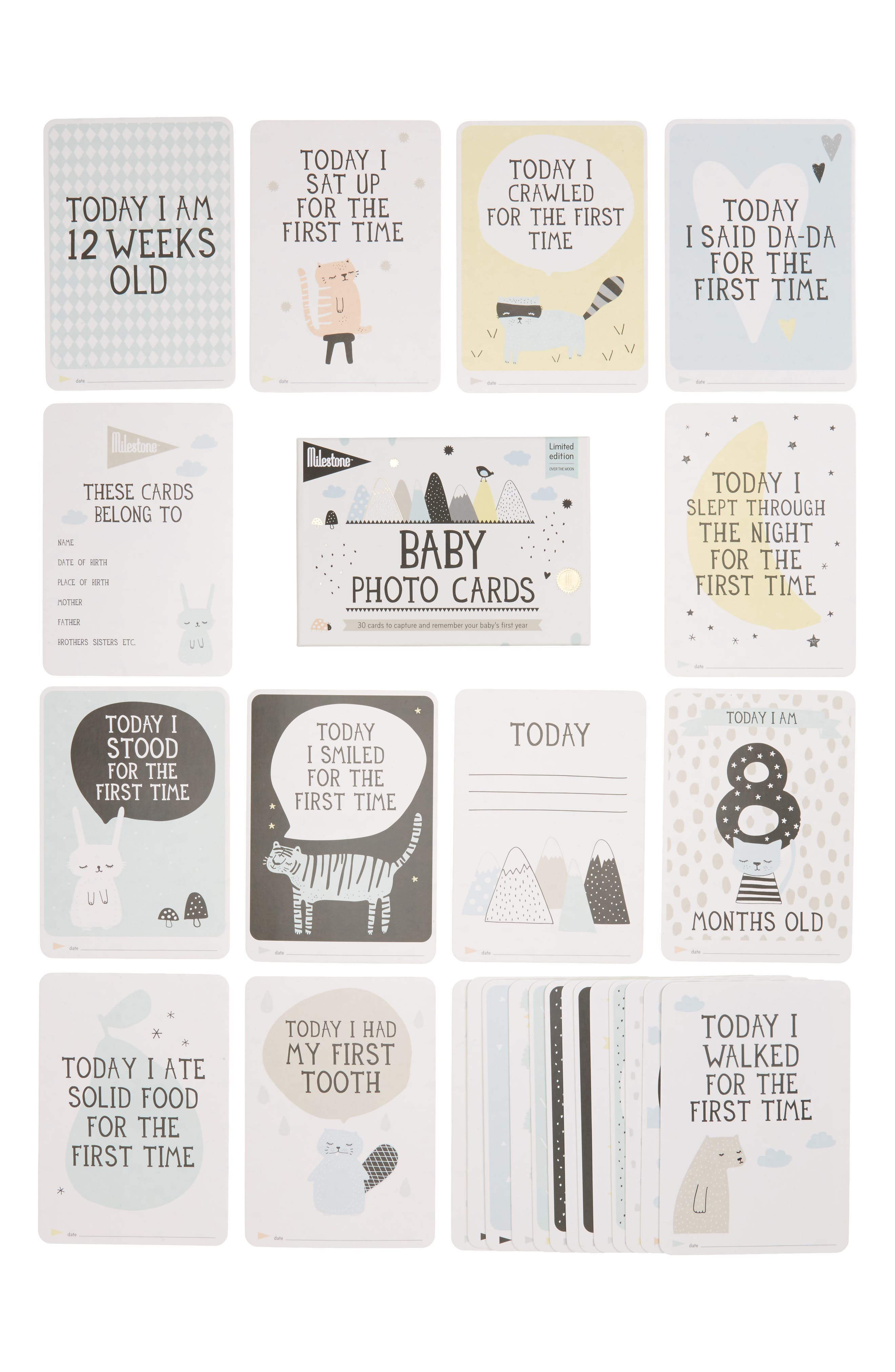 Milestone Set of 30 Baby's First Year Illustrated Cards,                             Alternate thumbnail 5, color,                             White
