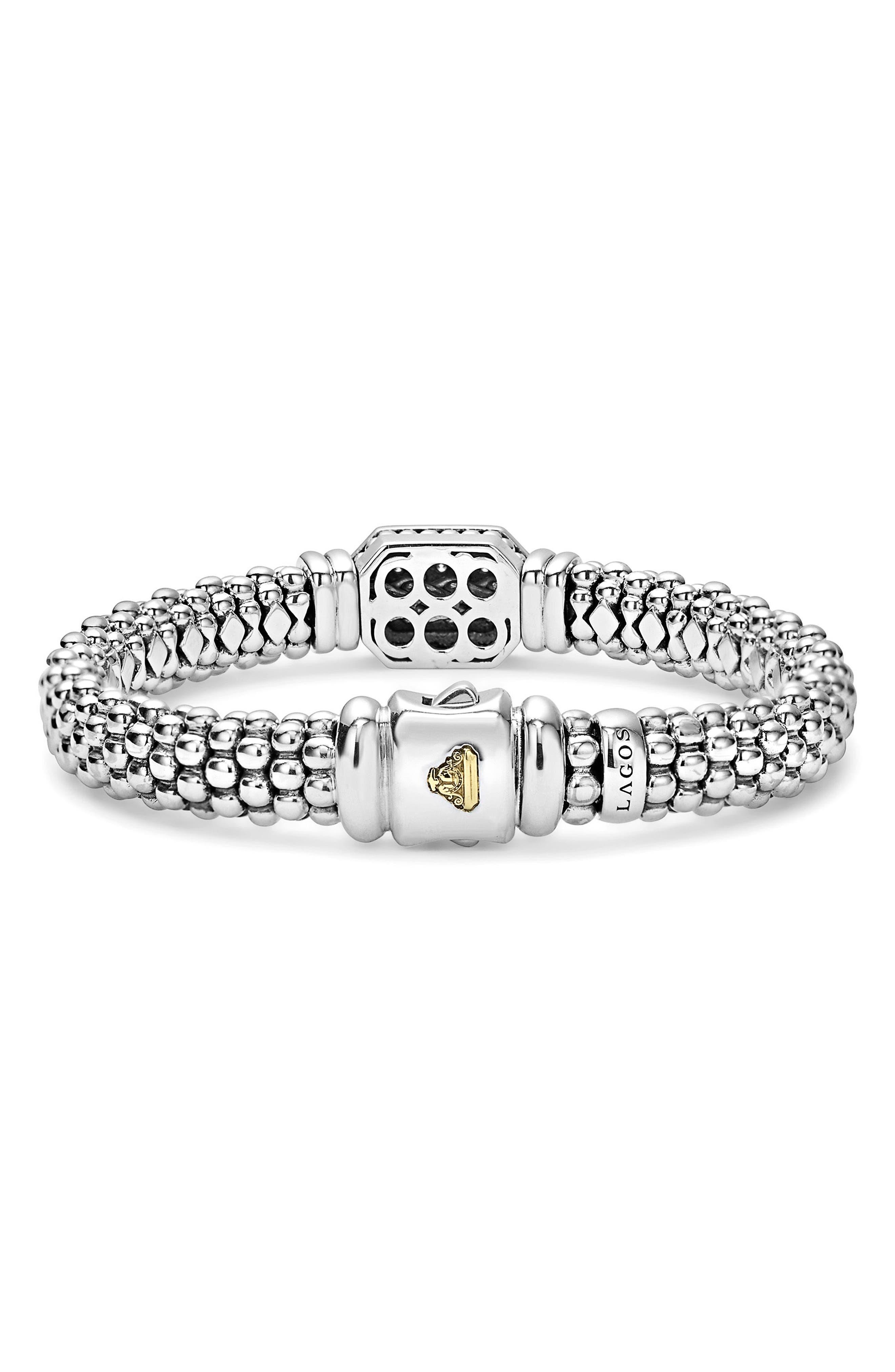 Diamonds & Caviar Large Diamond Bracelet,                             Alternate thumbnail 3, color,                             Silver