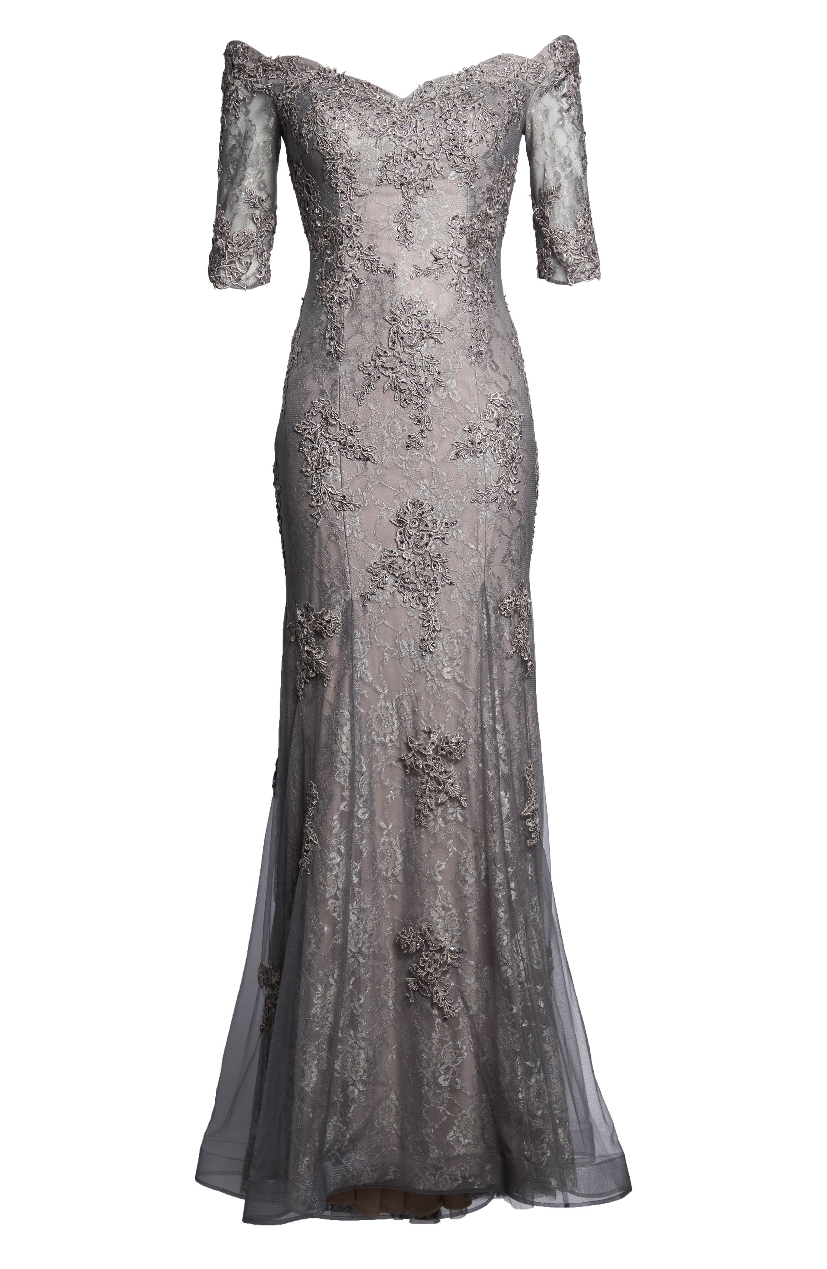 Fit & Flare Gown with Train,                             Alternate thumbnail 6, color,                             Pink/ Gray