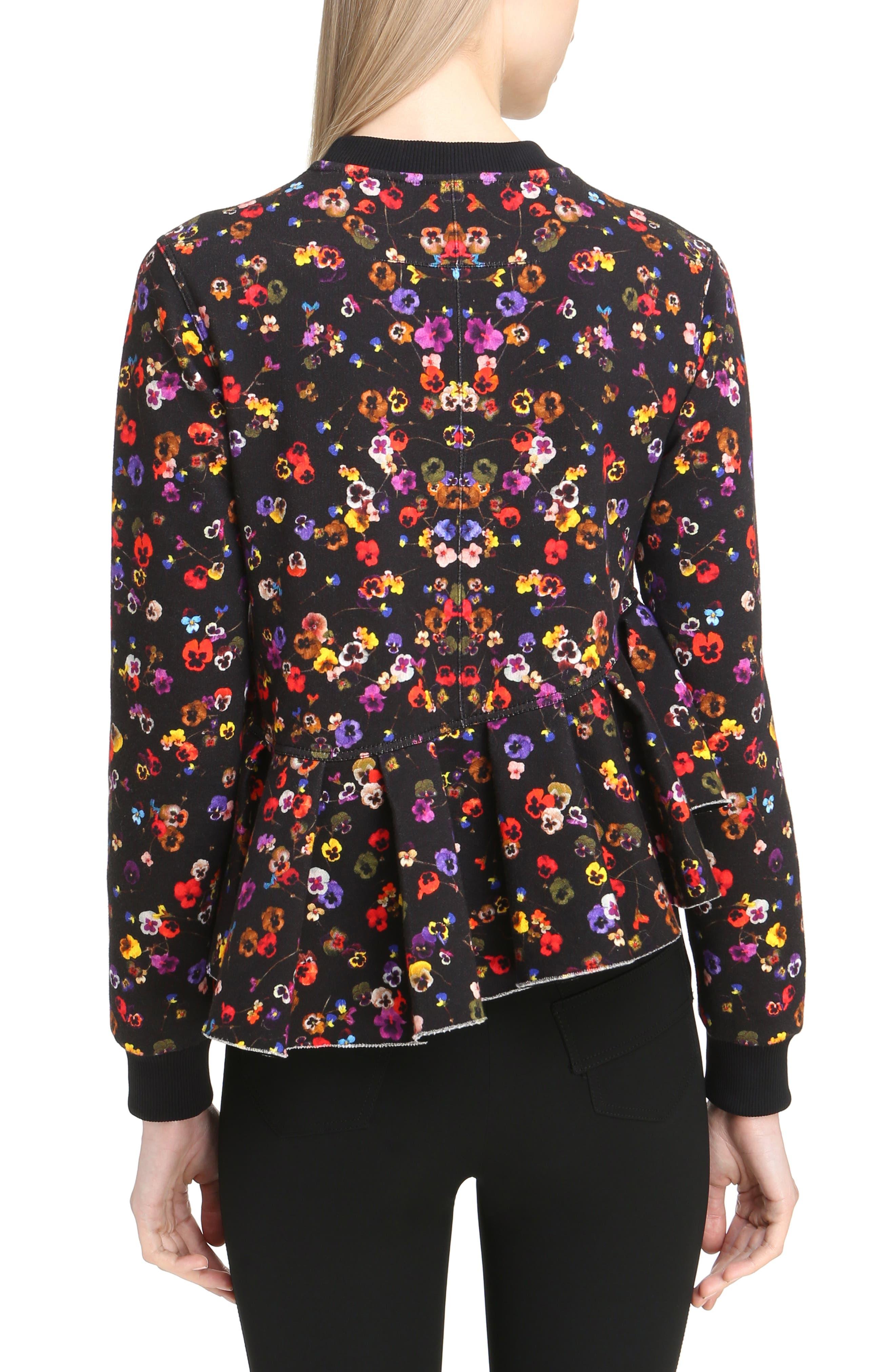 Alternate Image 2  - Givenchy Floral Print Ruffle Bonded Sweatshirt