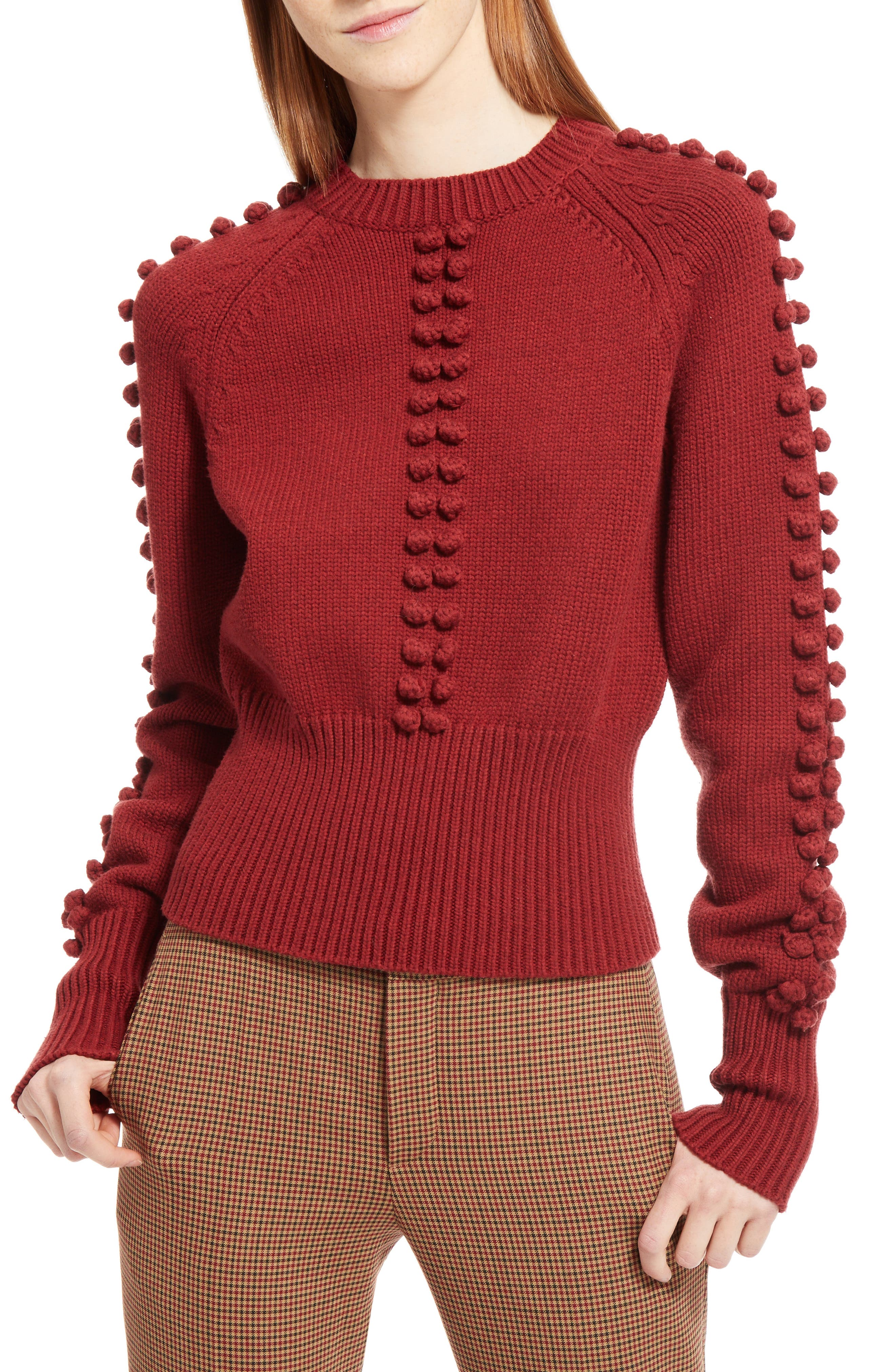 Bobble Knit Sweater,                             Alternate thumbnail 5, color,                             Ginger Red