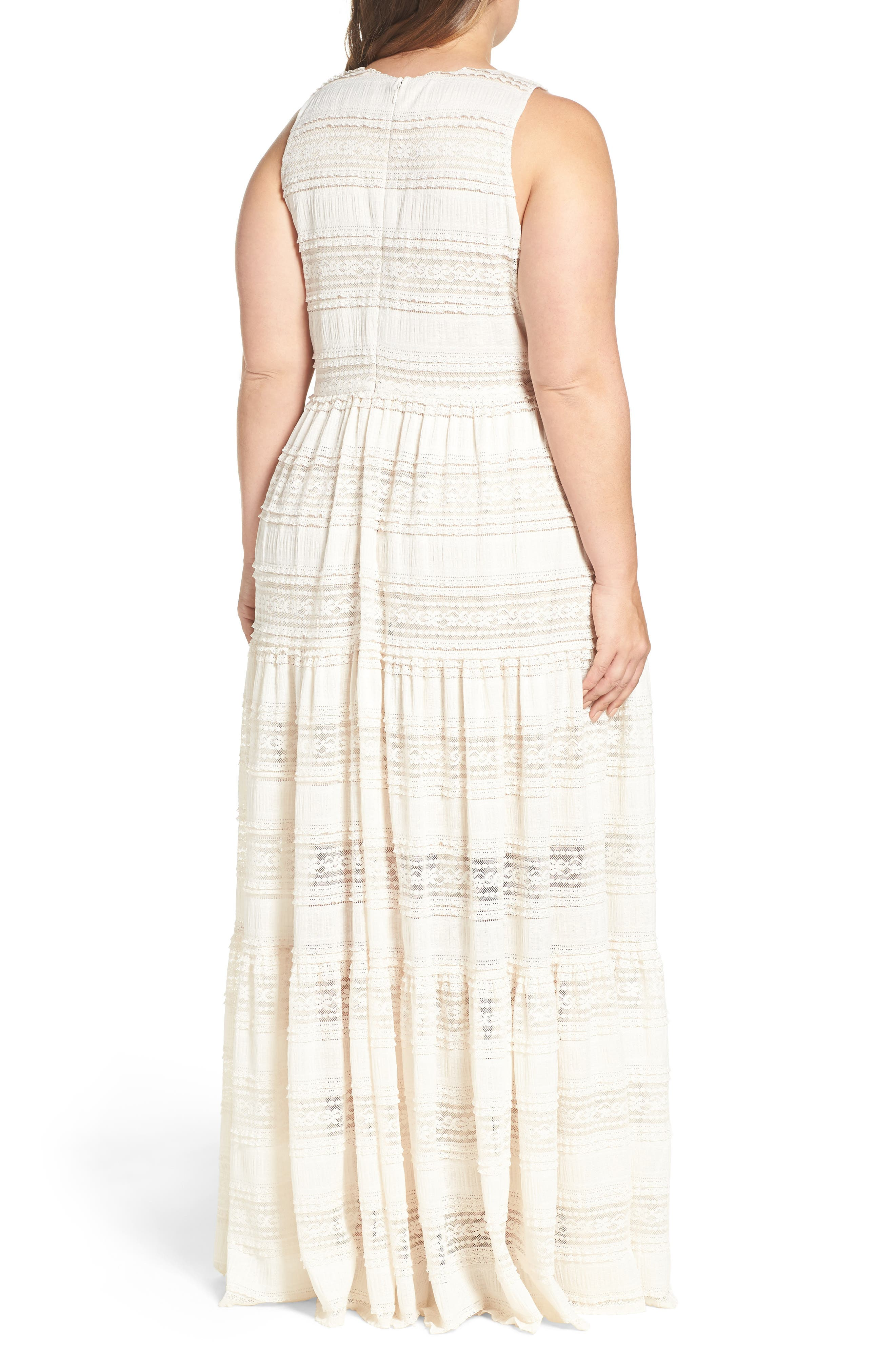 Tiered Lace Maxi Dress,                             Alternate thumbnail 3, color,                             Ivory