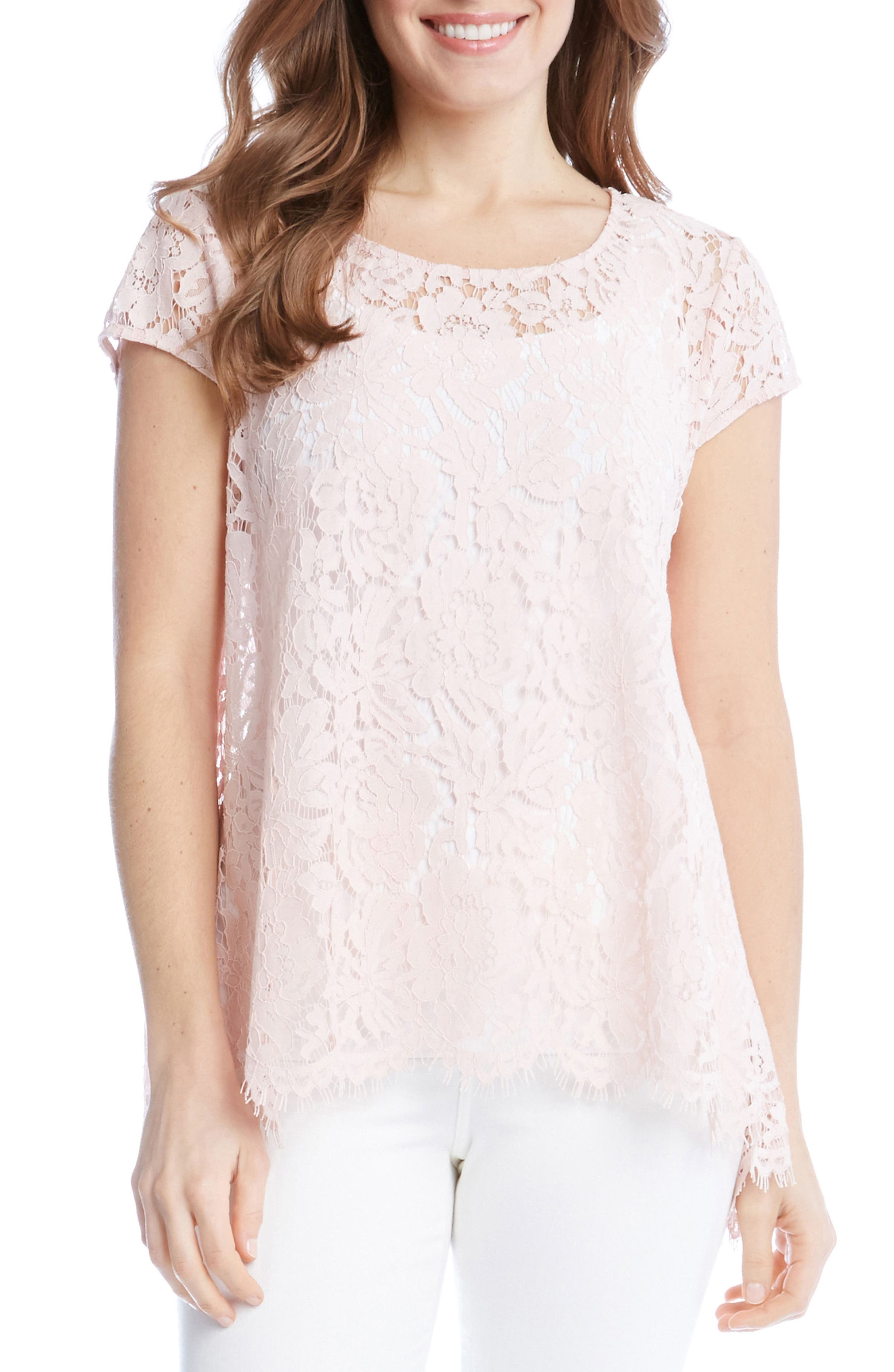 Lace High/Low Top,                         Main,                         color, Shell