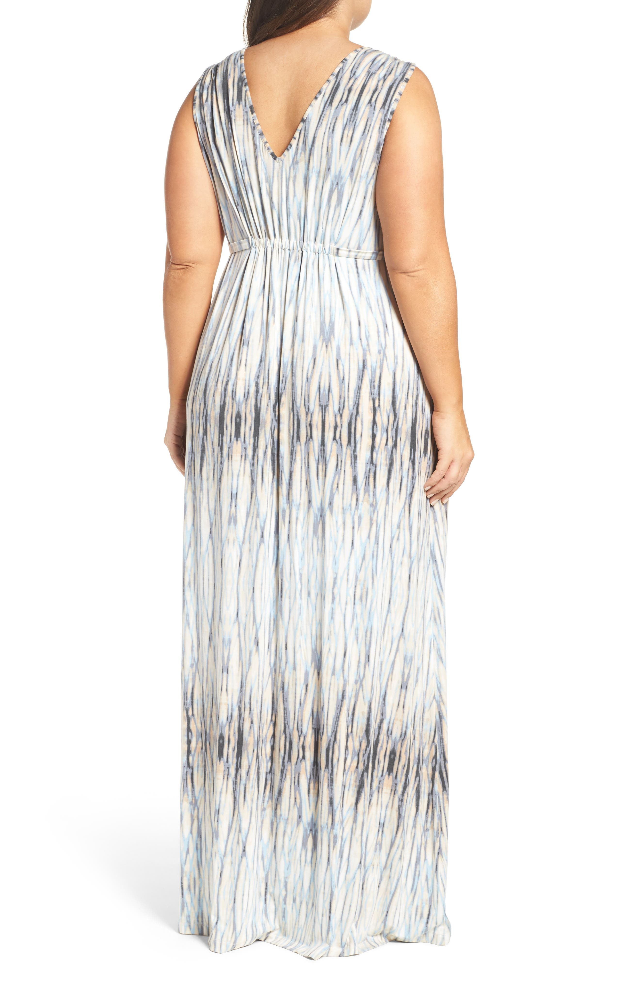Grecia Sleeveless Jersey Maxi Dress,                             Alternate thumbnail 3, color,                             Water Reflections