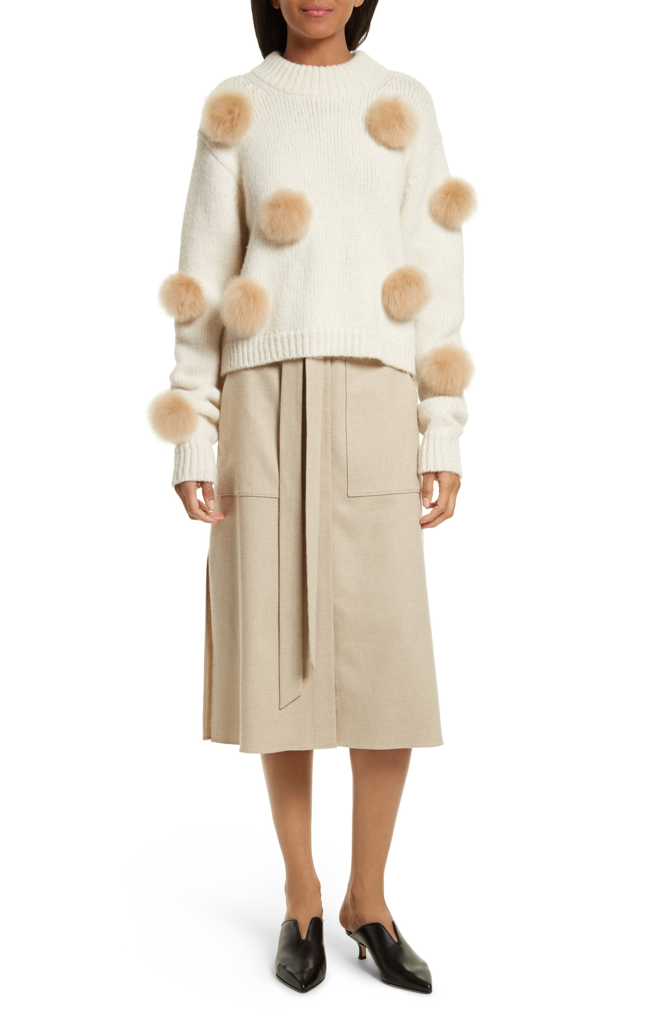 Wilson Twill Midi Skirt,                             Alternate thumbnail 2, color,                             Oatmeal