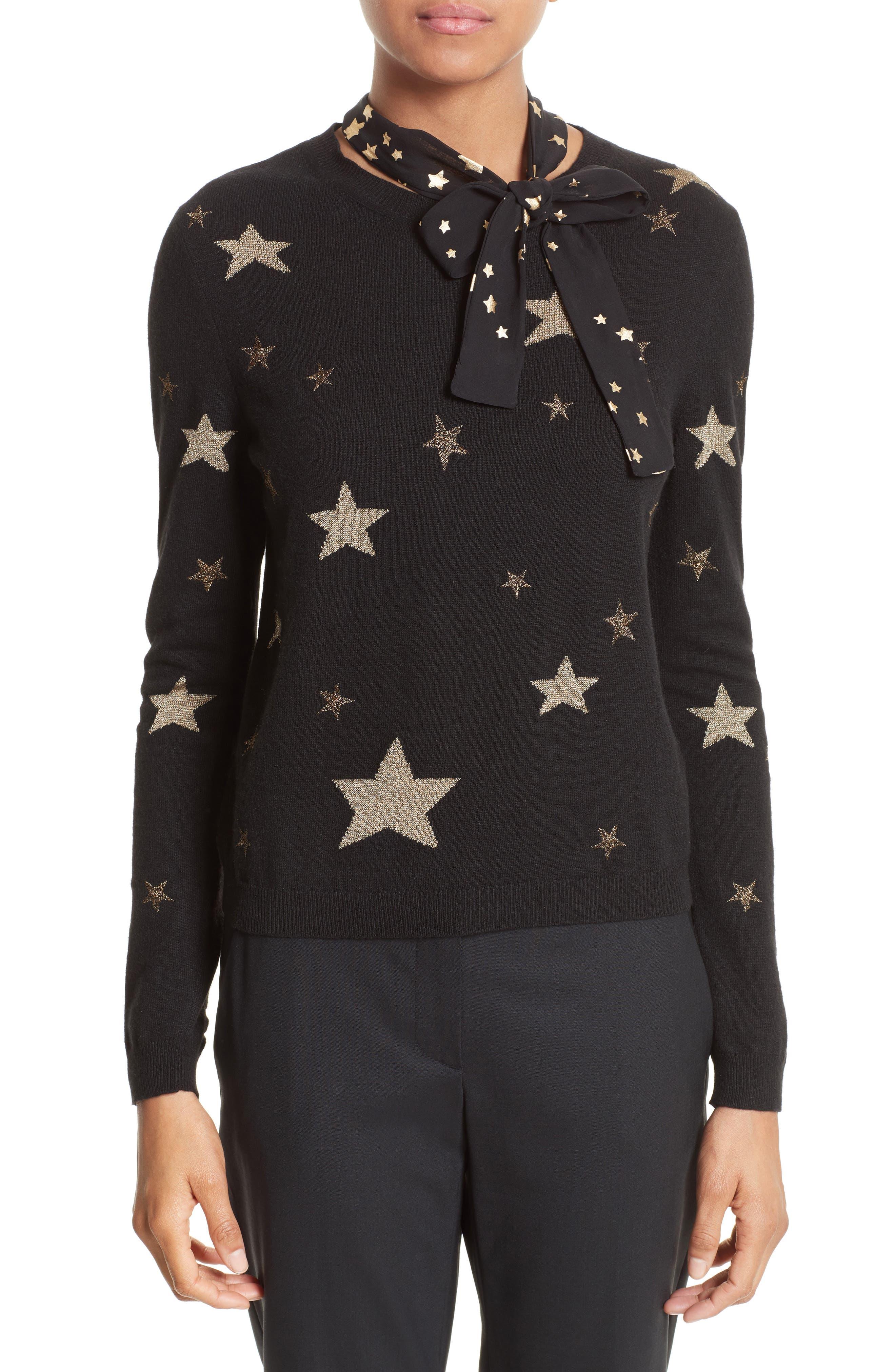 Tie Neck Star Sweater,                             Main thumbnail 1, color,                             Nero