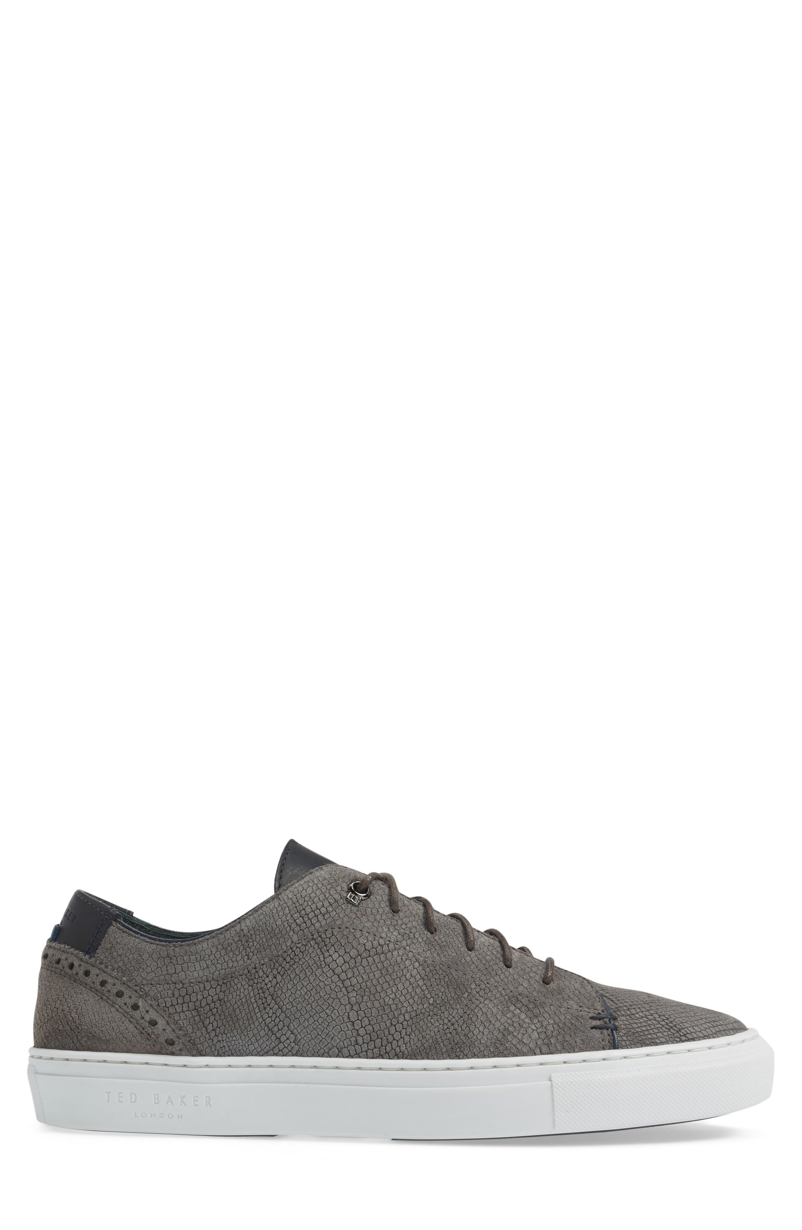 Duke Snake Embossed Sneaker,                             Alternate thumbnail 3, color,                             Dark Grey Suede
