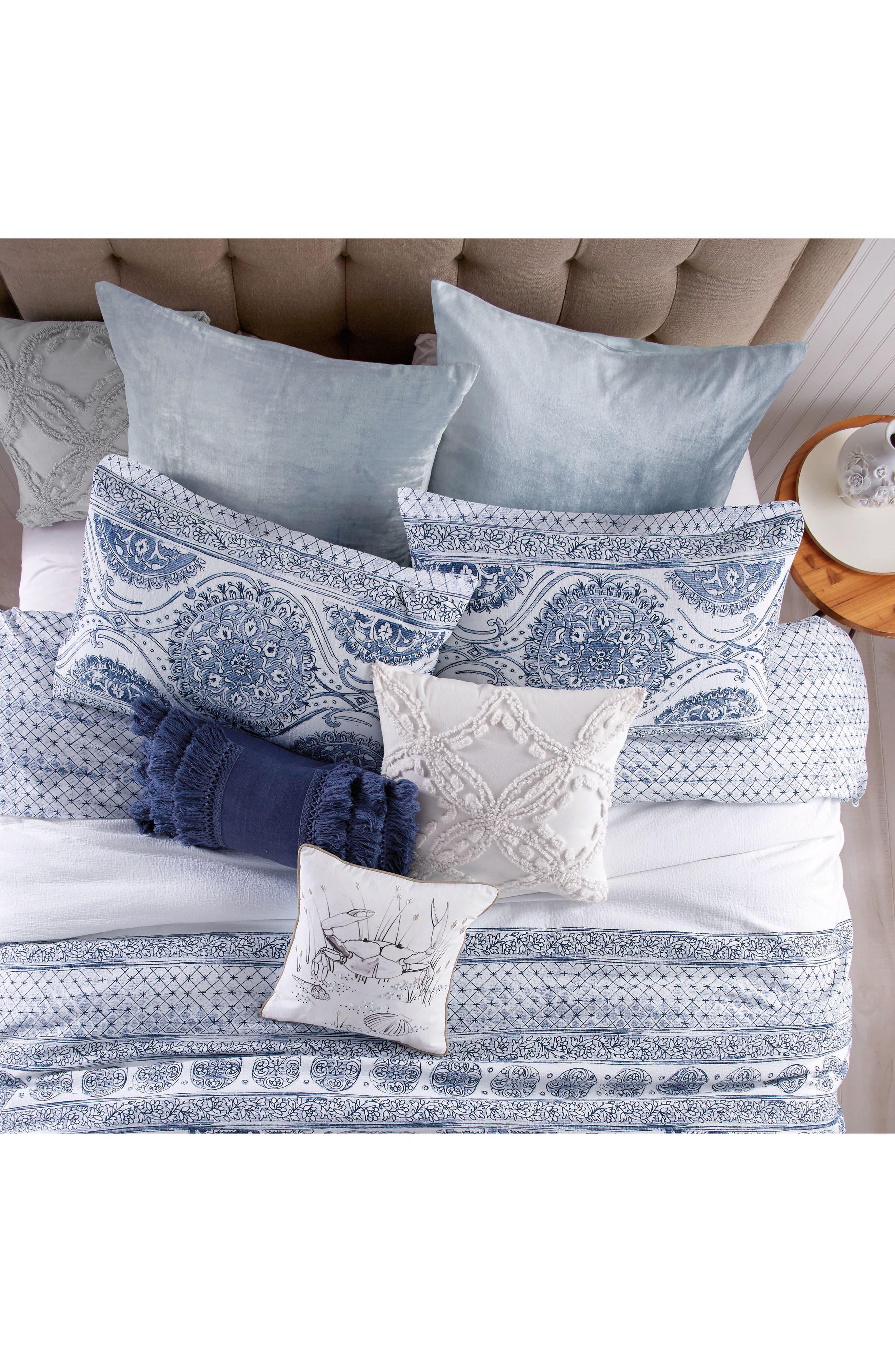 Fringe Pillow,                             Alternate thumbnail 2, color,                             Navy