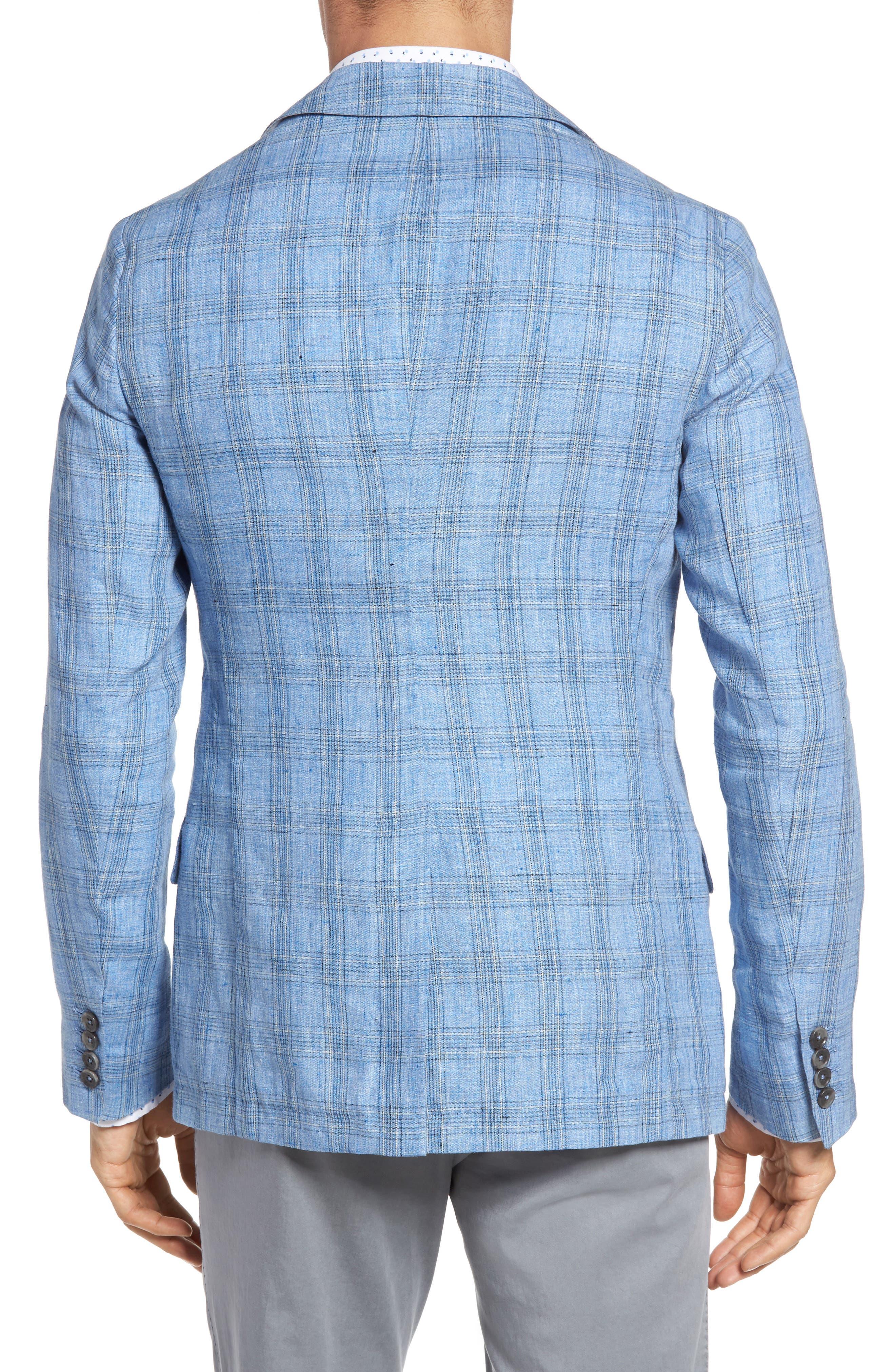 Laxus Plaid Linen Sport Coat,                             Alternate thumbnail 2, color,                             Light Blue