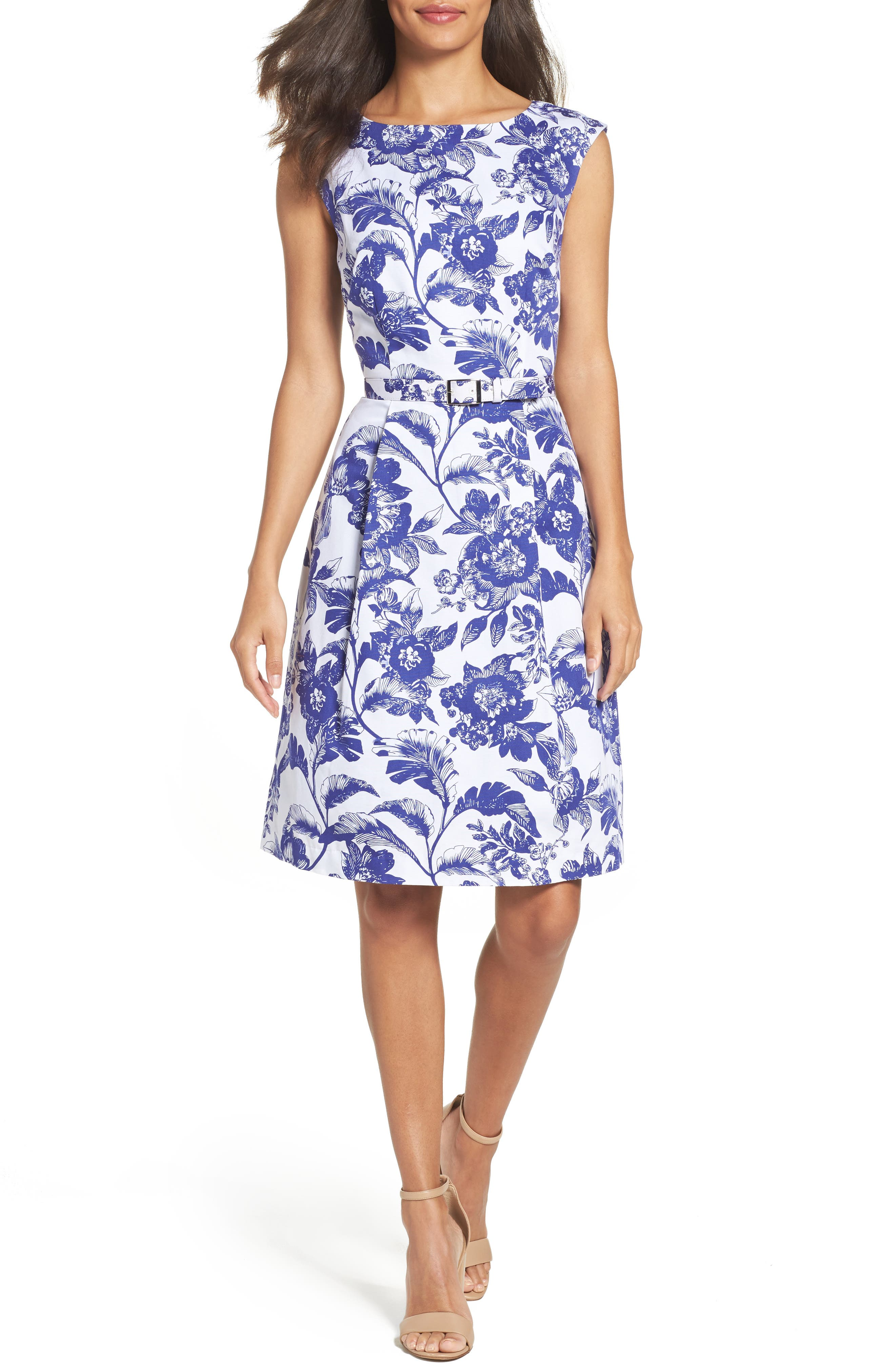 Adrianna Papell Print Fit & Flare Dress (Regular & Petite)