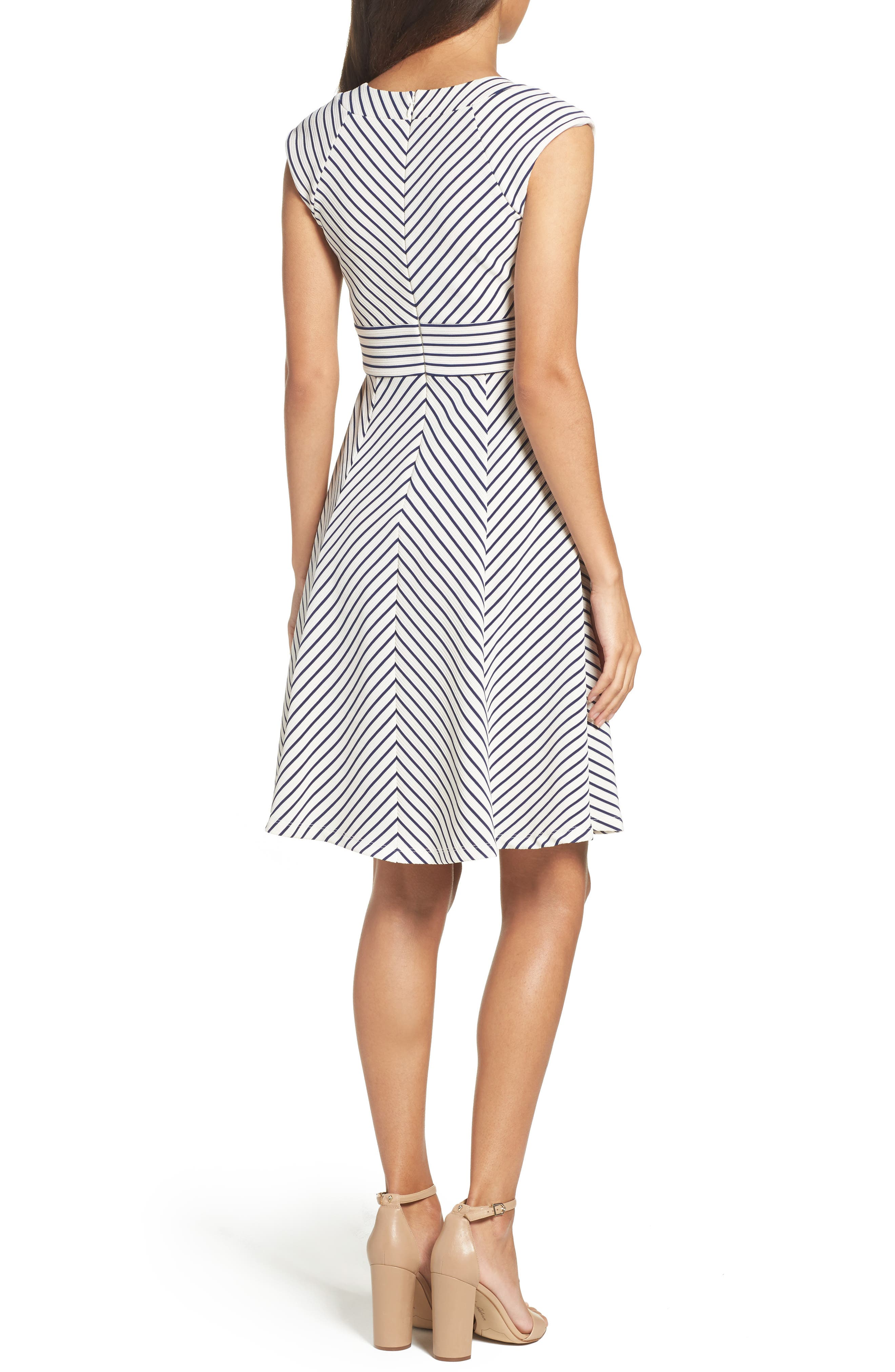 Stripe Fit & Flare Dress,                             Alternate thumbnail 2, color,                             White/ Blue Moon