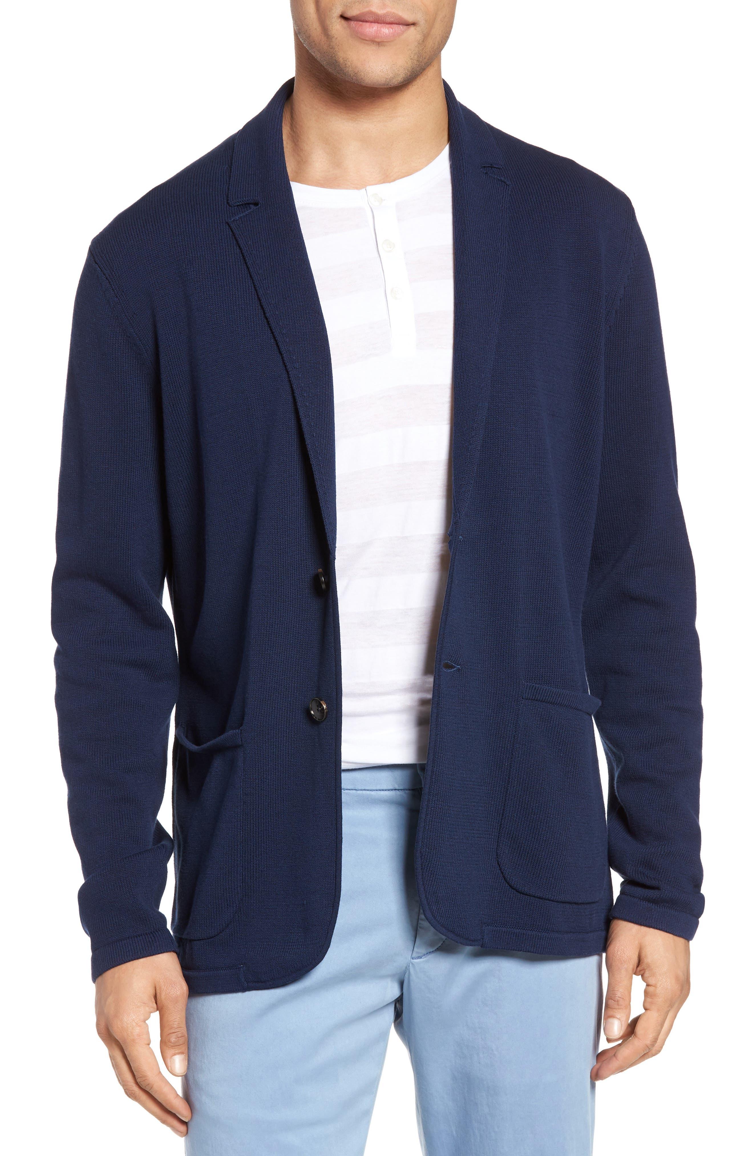 Alipinia Notch Collar Cardigan,                         Main,                         color, Navy